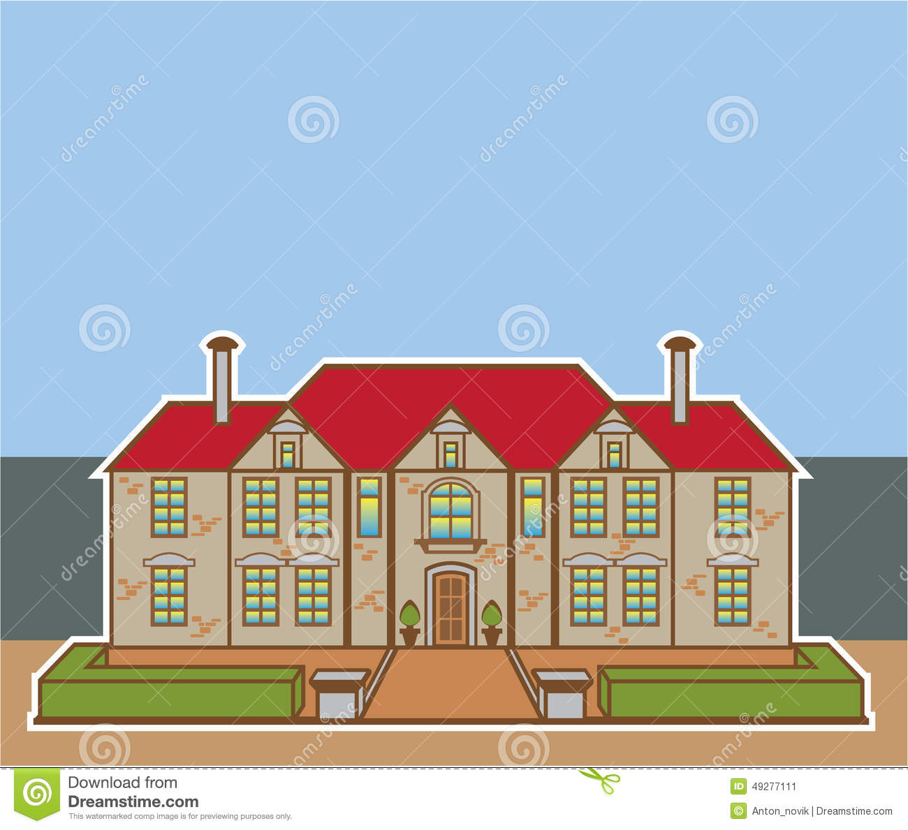 Mansion Front Yard Vector Stock Image 49277111