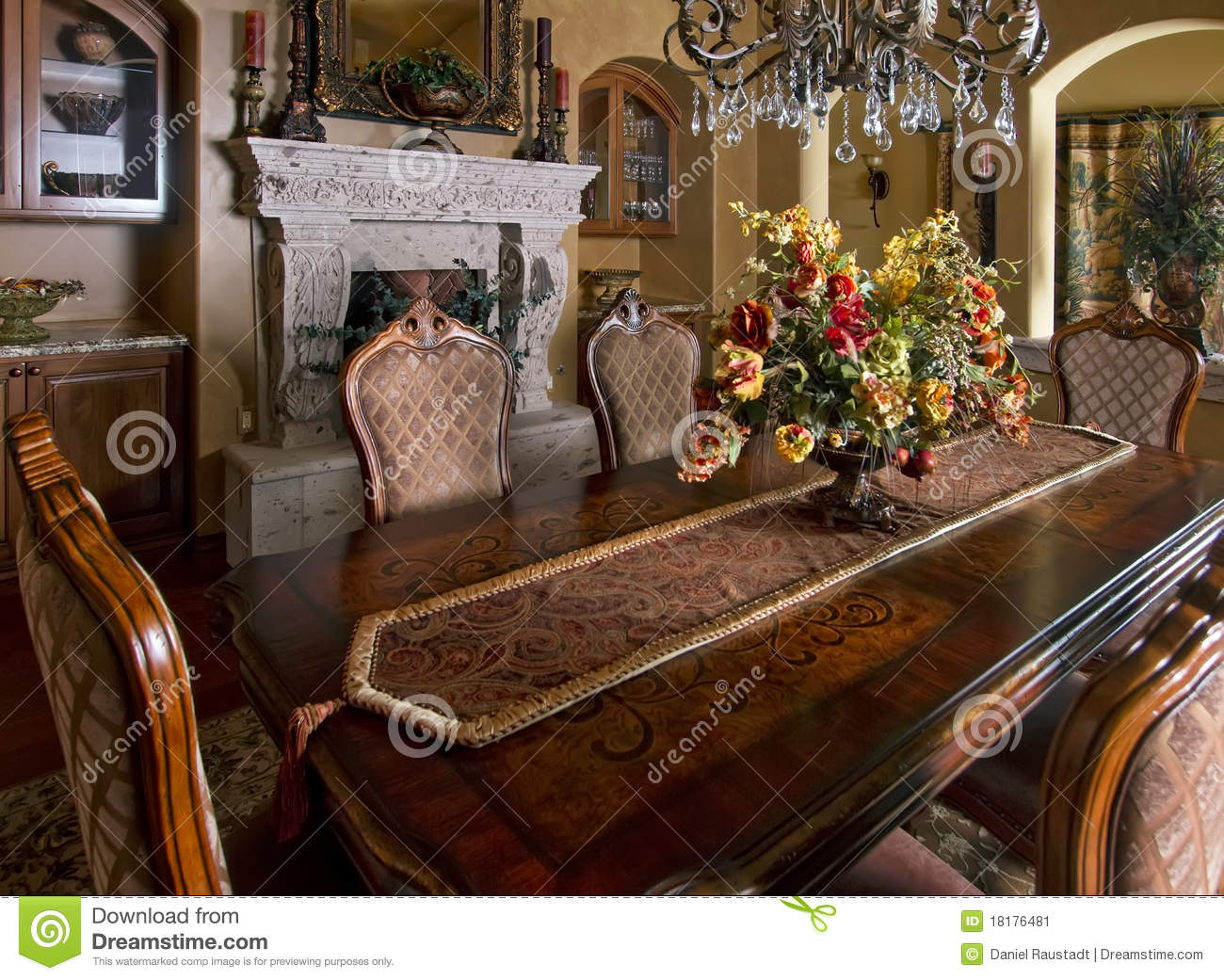 Mansion Home Dining Room Table Stock Image Image Of