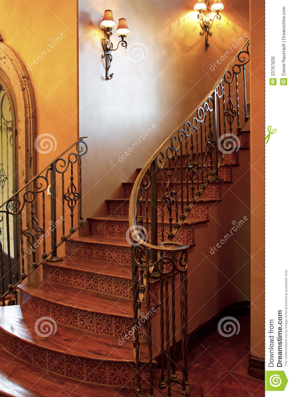 Swell Mansion Home Interior Front Stairway Entrance Stock Photo Door Handles Collection Dhjemzonderlifede