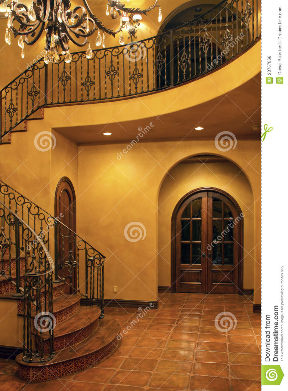 Mansion Home Interior Front Stairway Entrance Stock Photo
