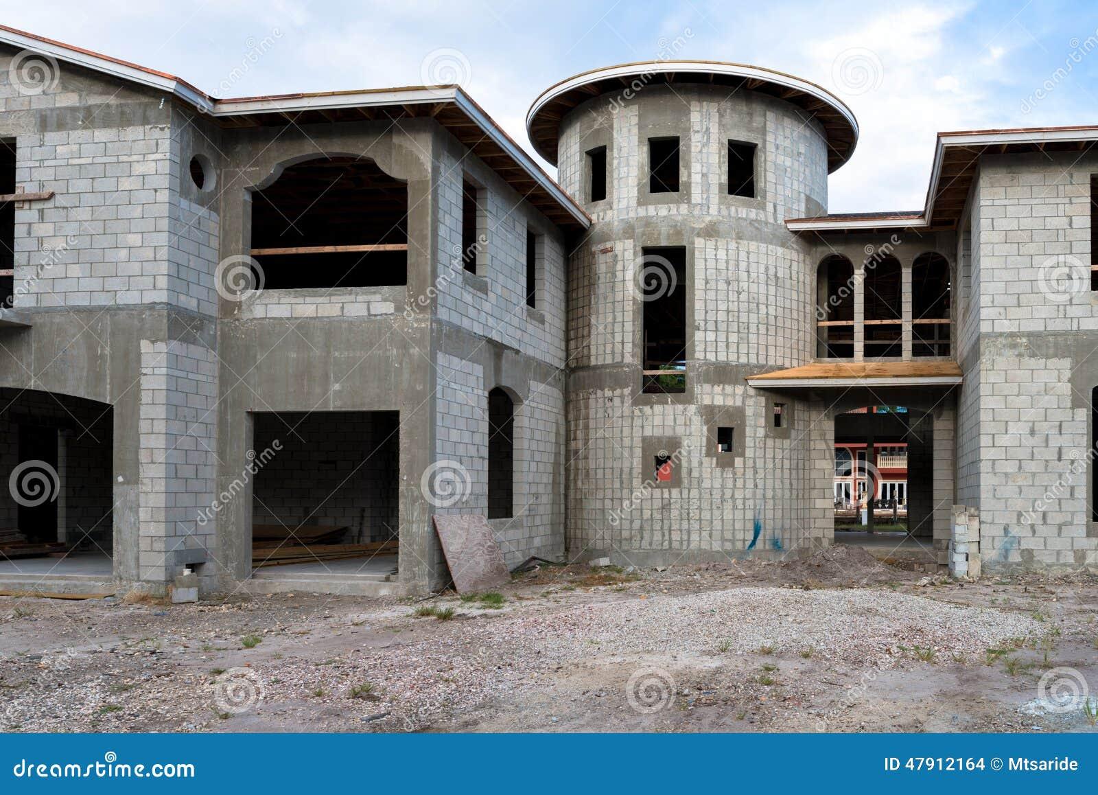 Concrete house under construction the for Cinder block home construction