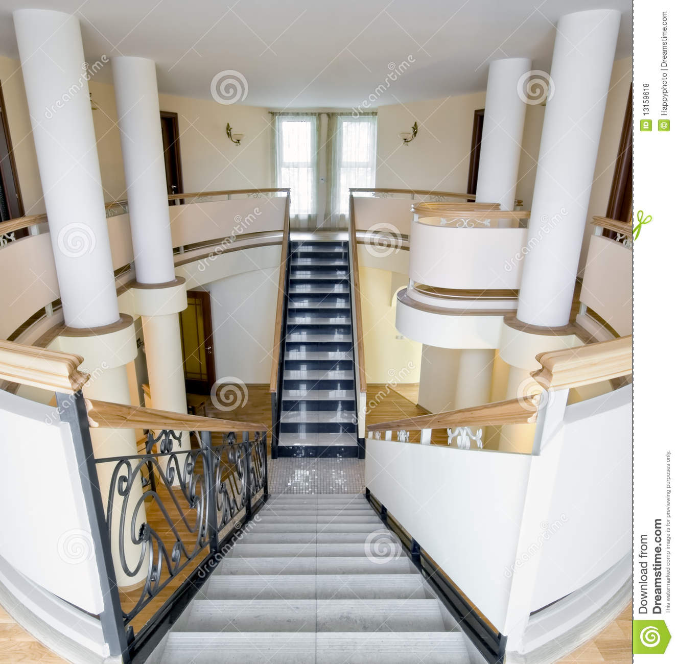 Mansion Interior With Staircase And Balcony Stock Photo
