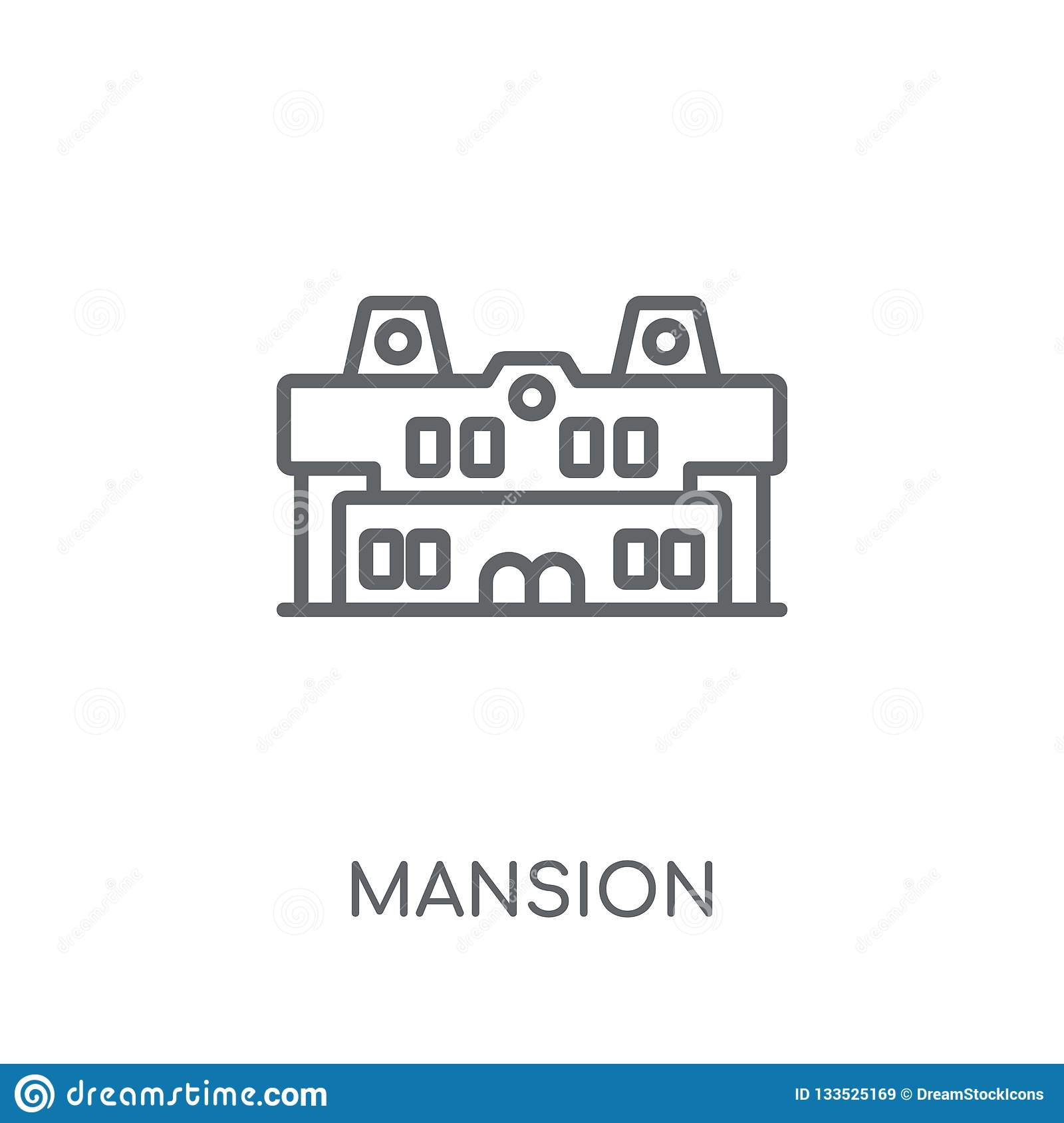 Mansion linear icon. Modern outline Mansion logo concept on whit