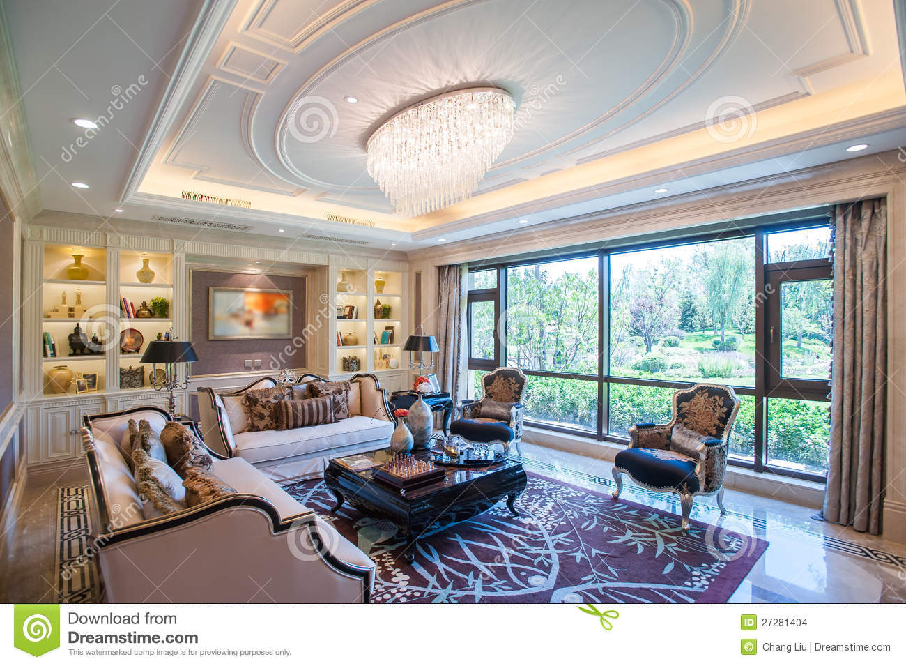 Mansion Living Room With Large Windows Stock Photo Image
