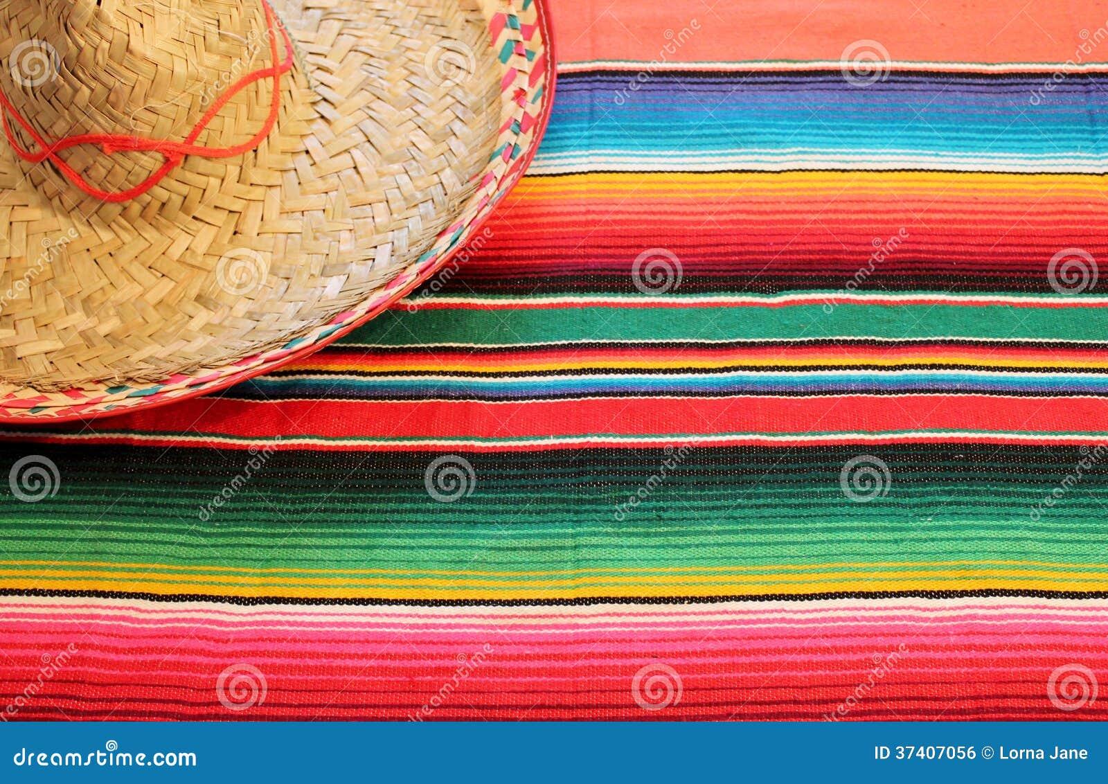 Manta mexicana del poncho de la fiesta en colores brillantes con el sombrero