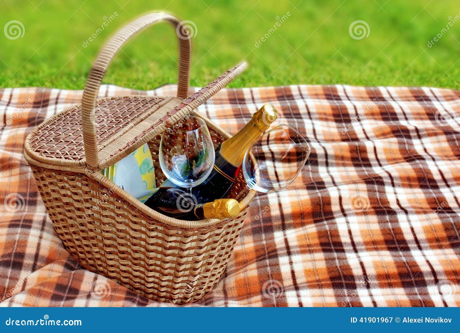 Manta y cesta de la comida campestre en la hierba