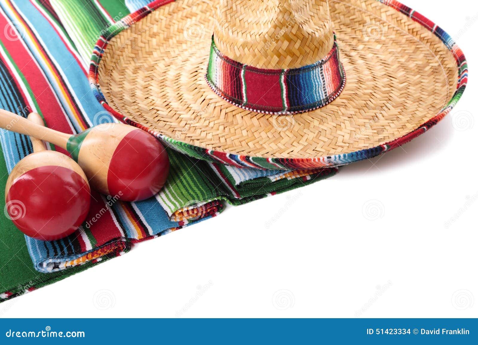 Manta y sombrero mexicanos