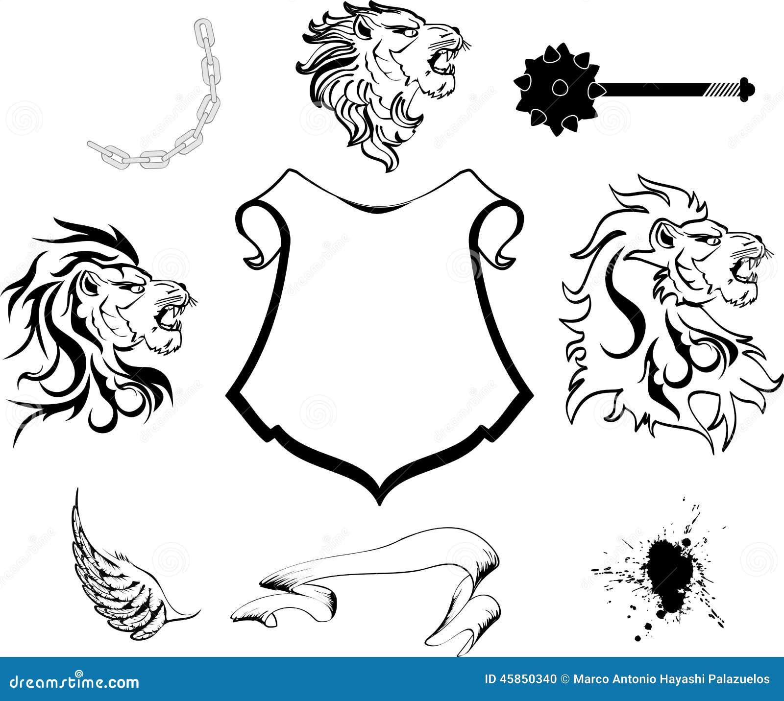 Manteau Héraldique De Tête De Lion D Ensemble De Bras