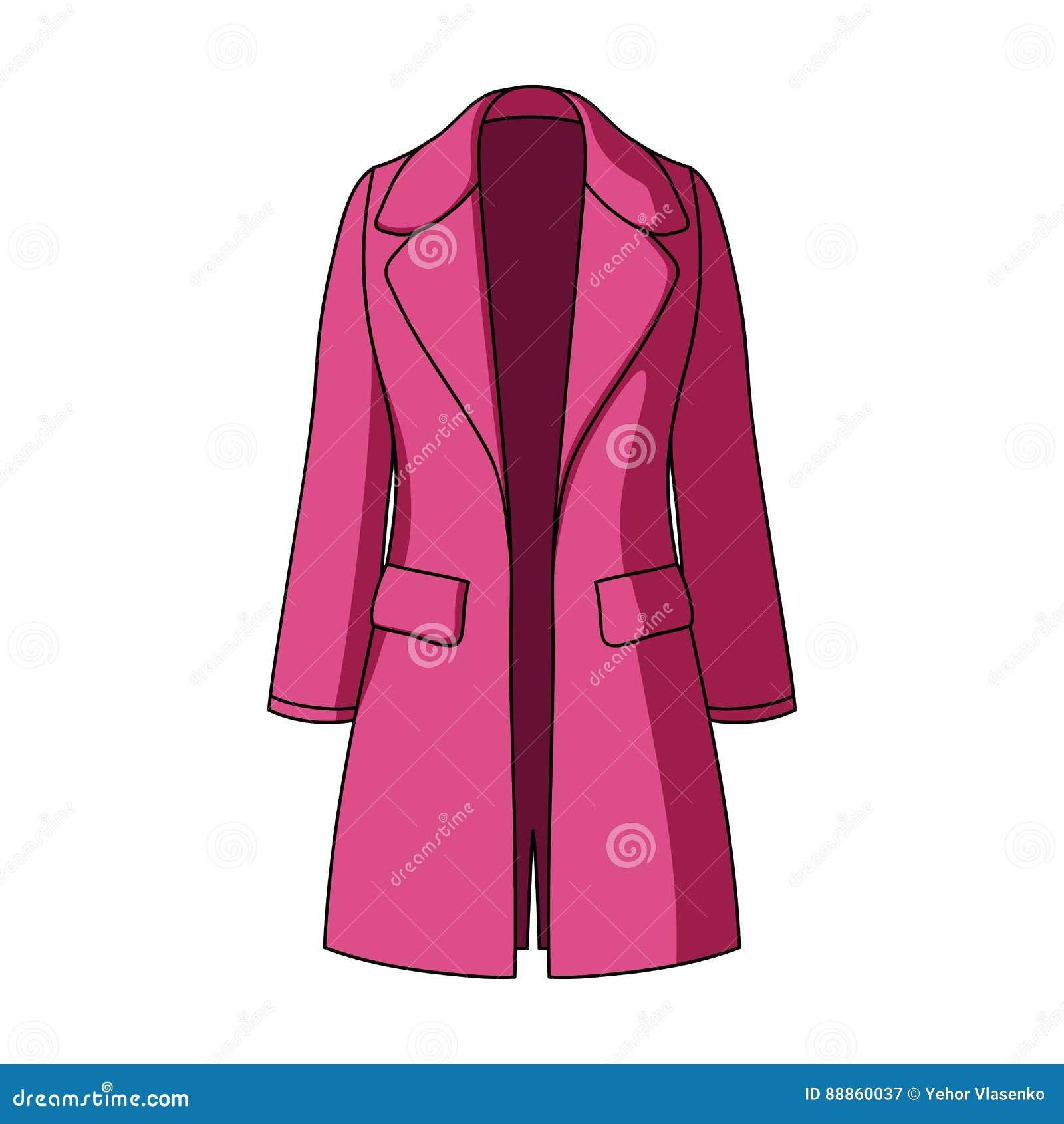 Manteau retenu femelle bleu boutonné Survêtement du ` s de femmes Icône simple d habillement de femmes en stock de symbole de vec