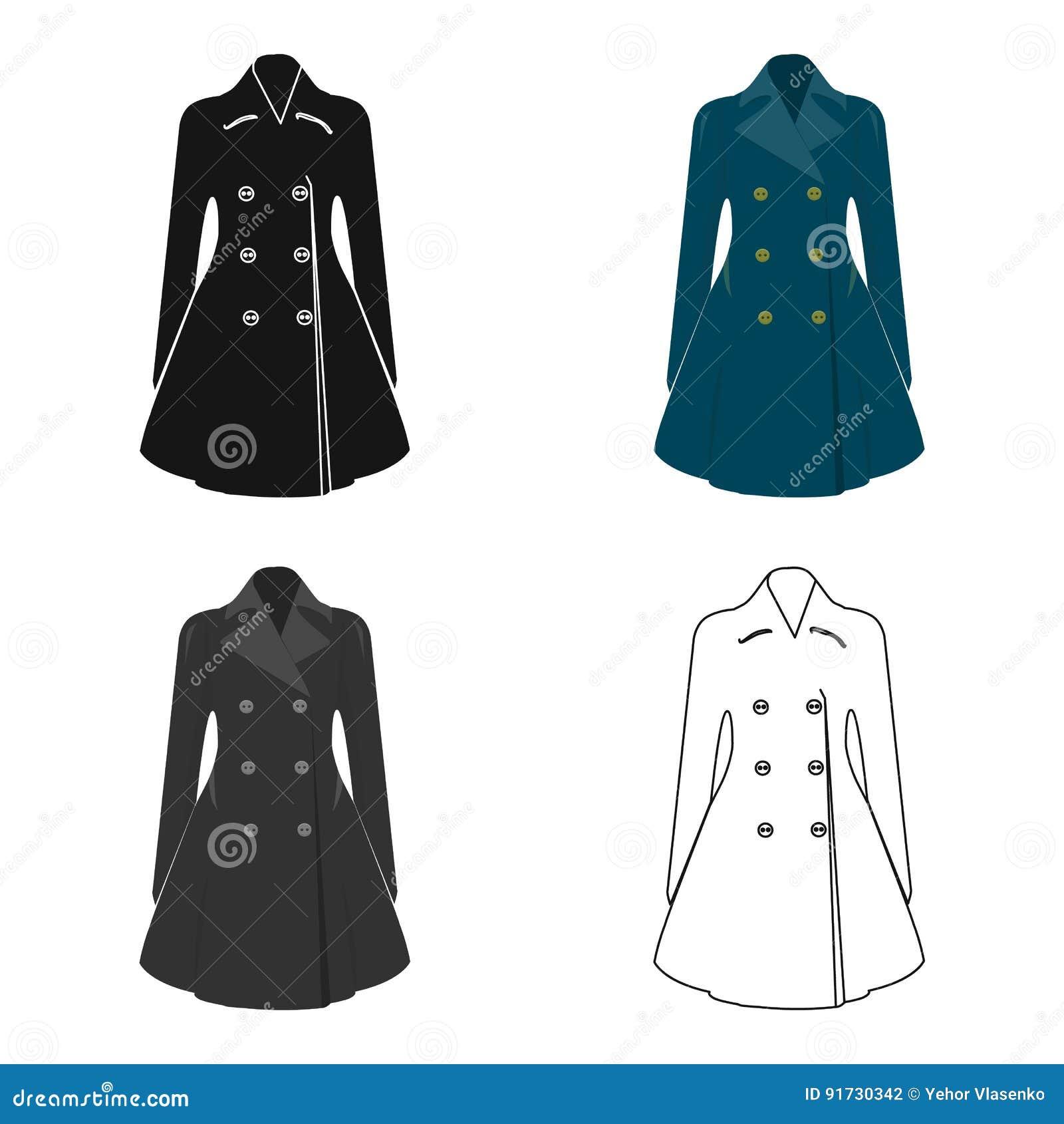 Manteau retenu femelle bleu boutonné Survêtement du ` s de femmes La femme vêtx l icône simple en stock de symbole de vecteur de