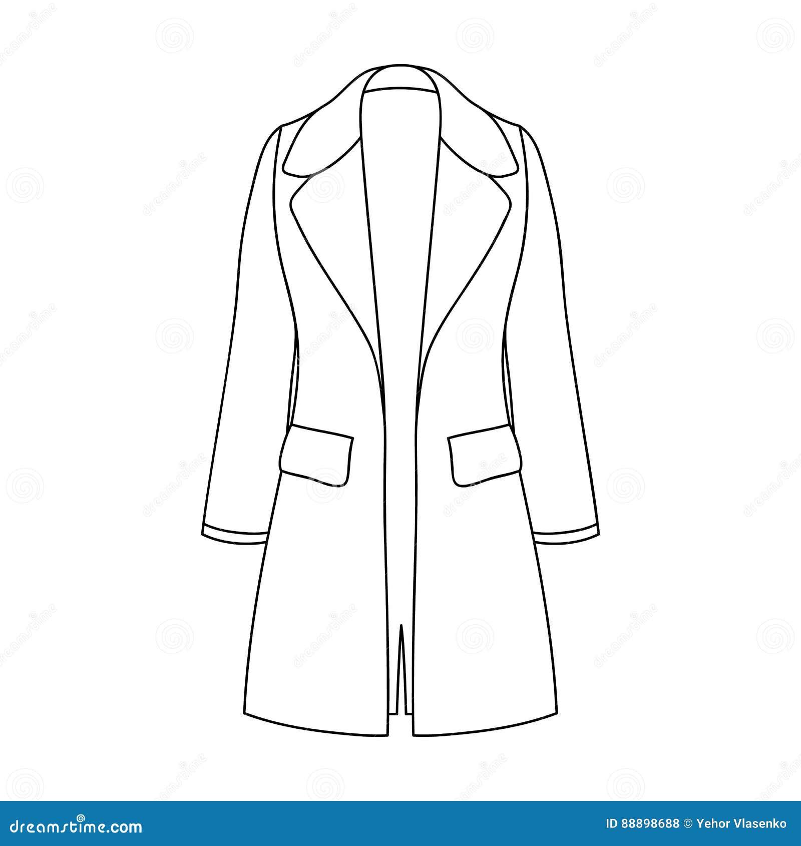 Manteau retenu femelle boutonné Survêtement des femmes s Icône simple d habillement de femmes en stock de symbole de vecteur de s