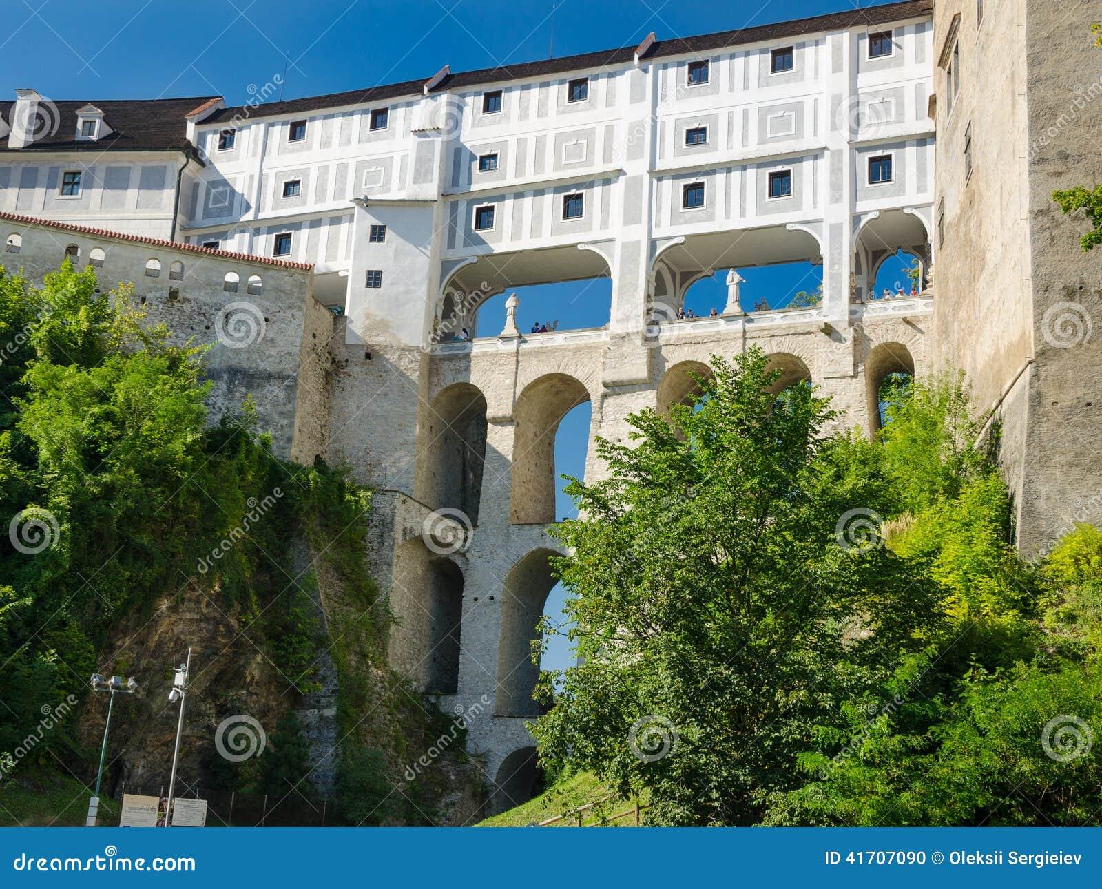 Mantelbrug In Het Kasteel Van Cesky Krumlov Zuid Bohemen