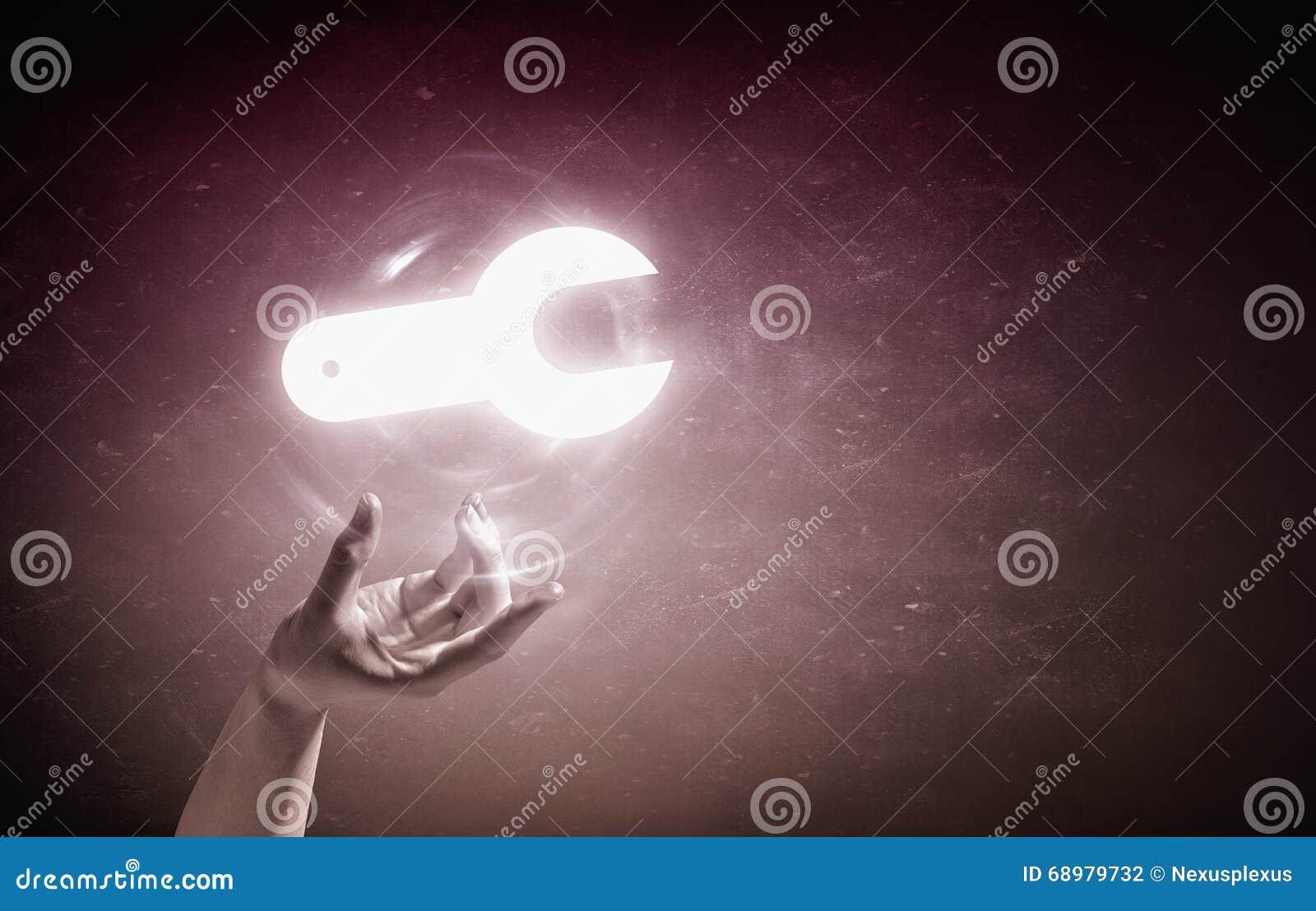 Mantenga el símbolo que brilla intensamente