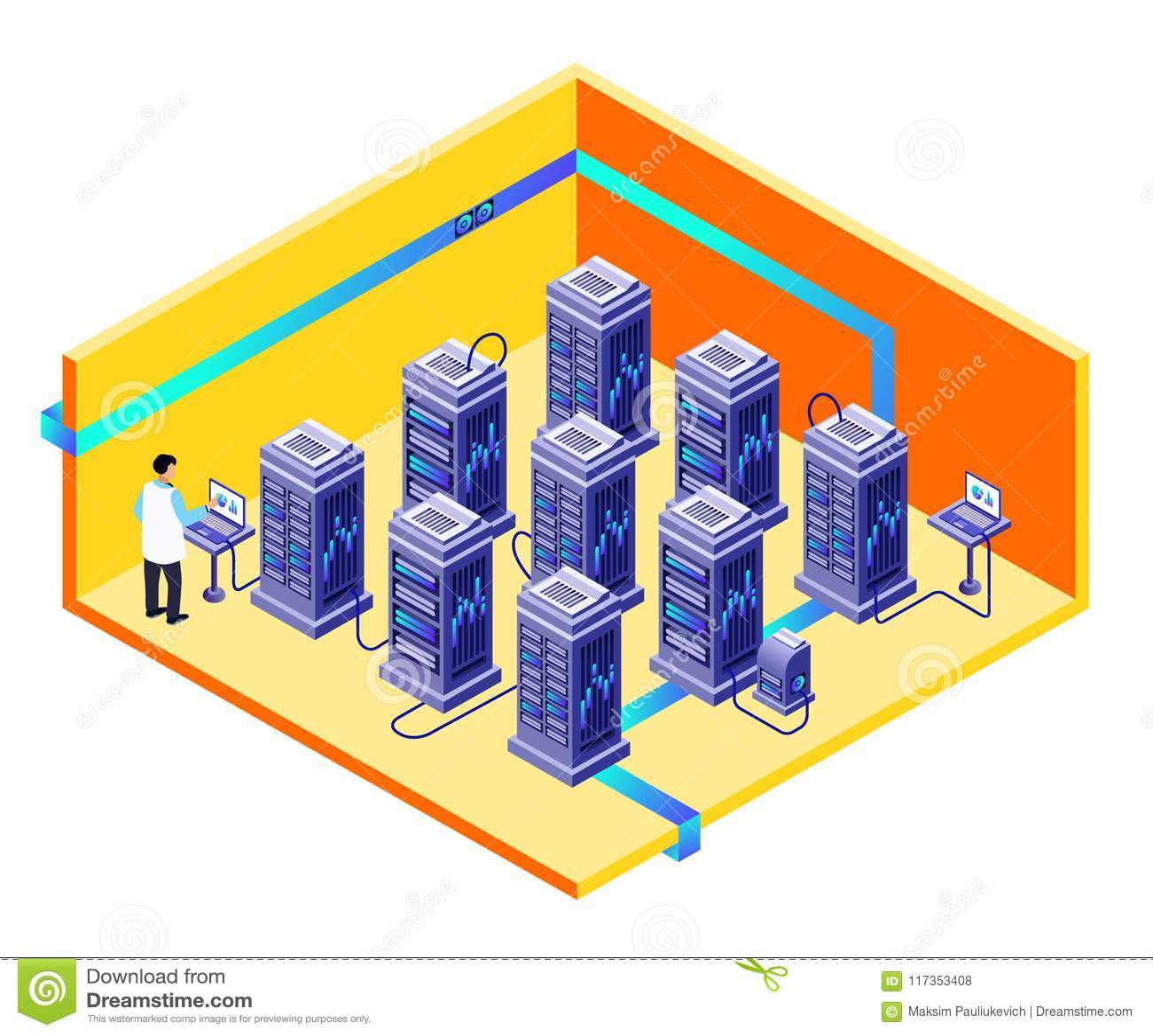 Mantenimiento del centro del almacenamiento de datos del hombre del vector