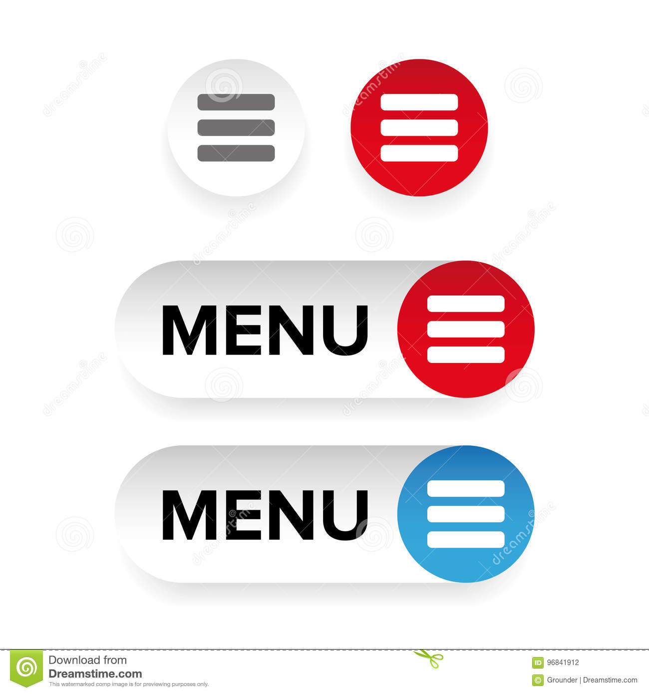 Manu Icon Button Set Stock Vector Illustration Of Vector 96841912