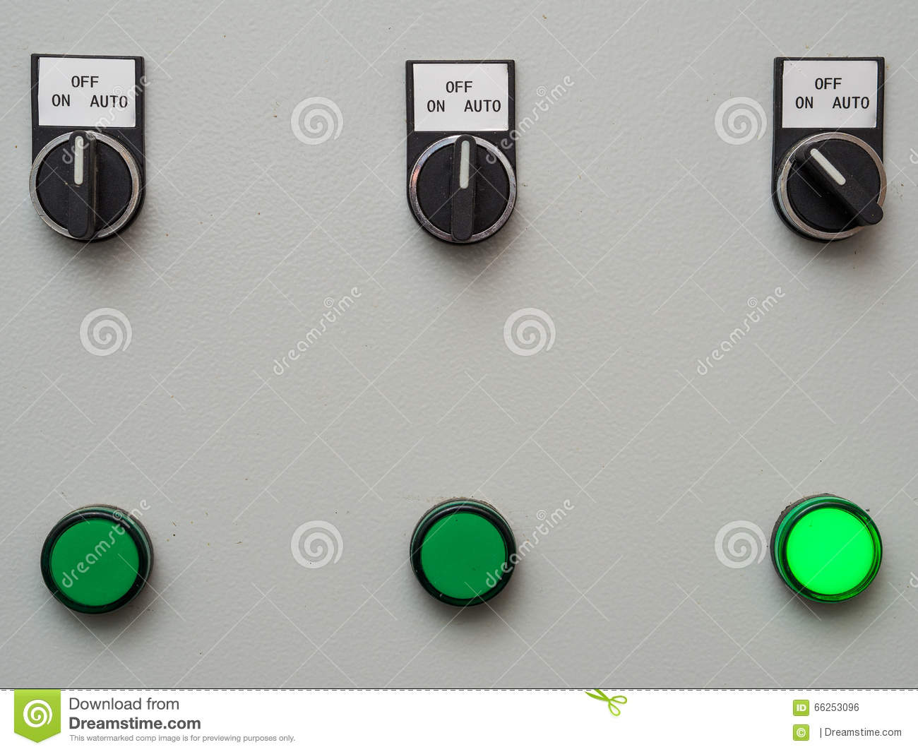 Manual Auto Switches On Control Panel With Light Indicator Stock ...