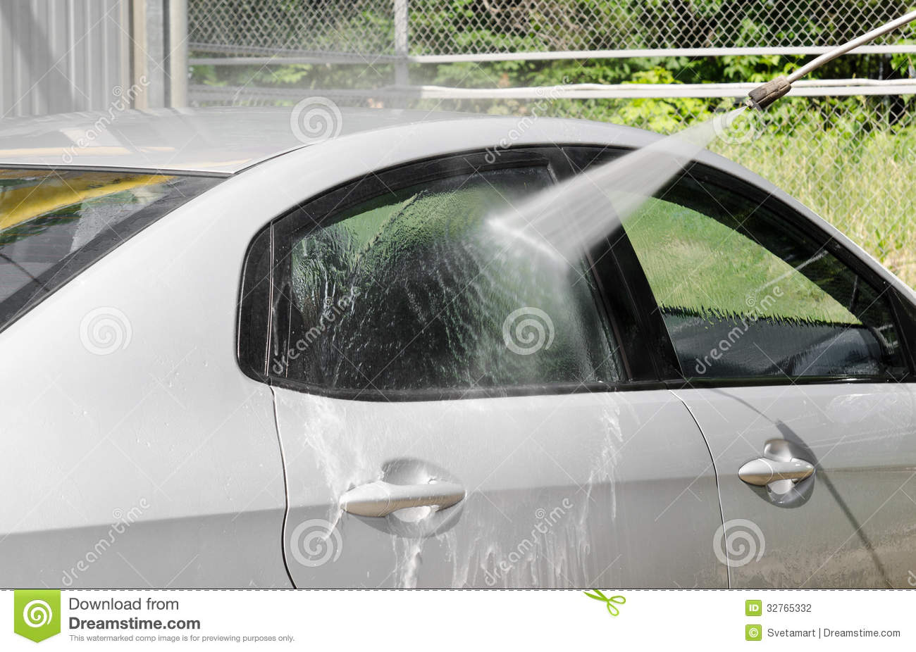 Foam Spray Car Wash >> Manual Car Washing Cleaning With Foam And Pressured Water At Ser Stock Photography - Image: 32765332