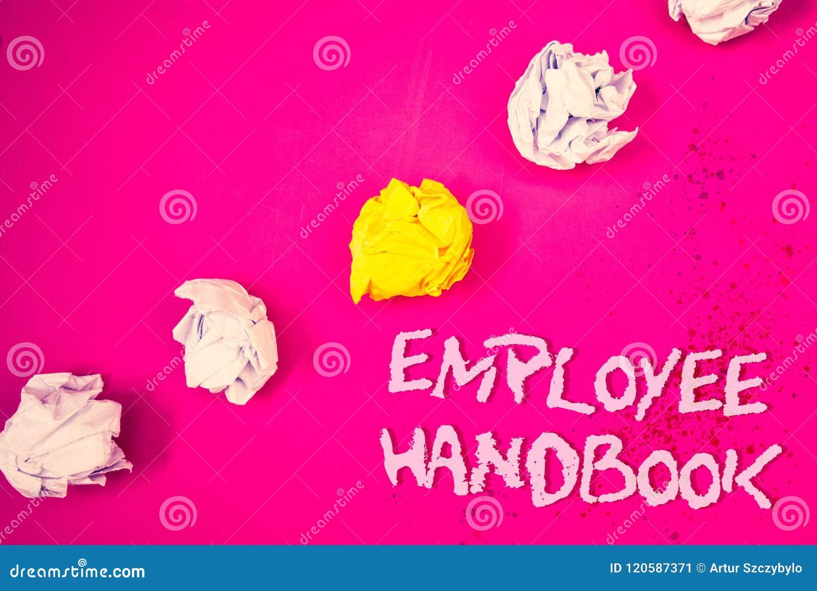 Manual de empregado do texto da escrita da palavra O conceito do negócio para regulamentos manuais do original ordena o backg cor