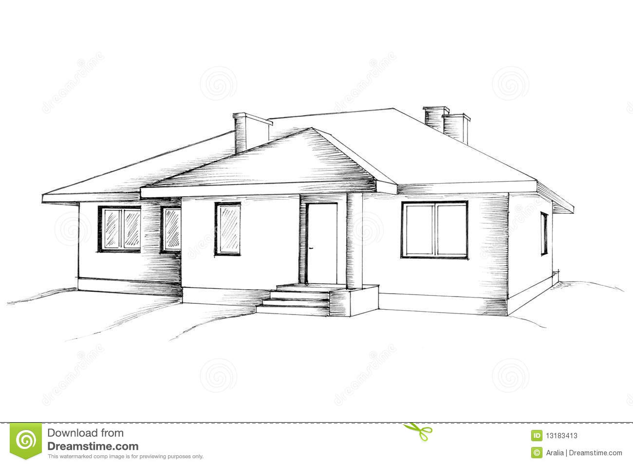 Line Drawing House Image : Manual drawing of the house stock photos image