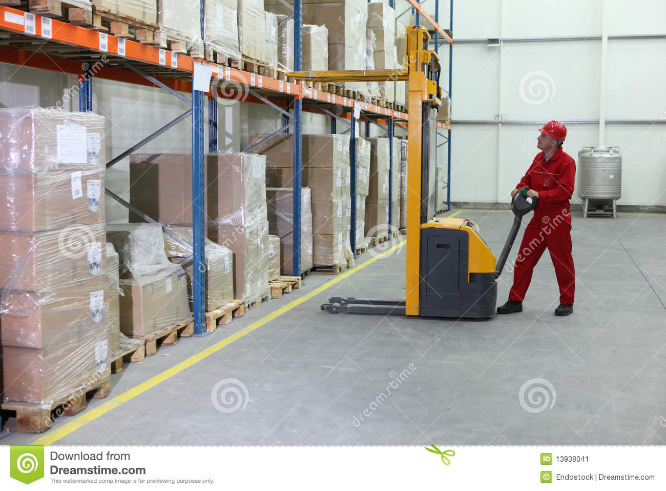 Manual Forklift Operator At Work In Warehouse Stock Image ...