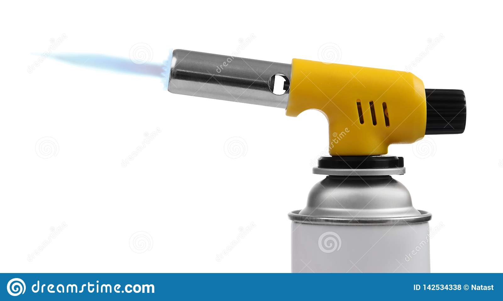 Manual gas torch burner on spray can with blue flame on white