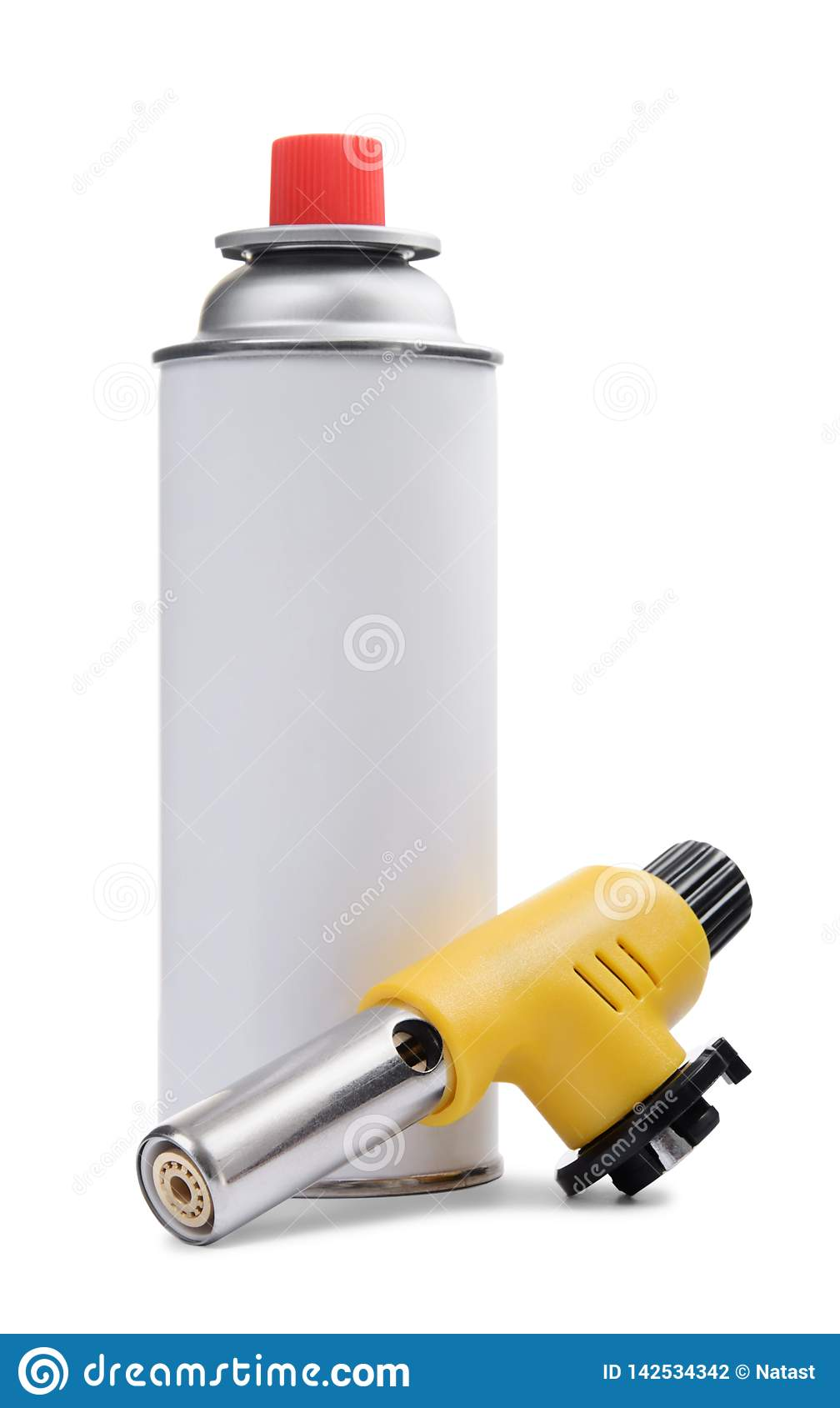 Manual gas torch burner and gas spray can on white
