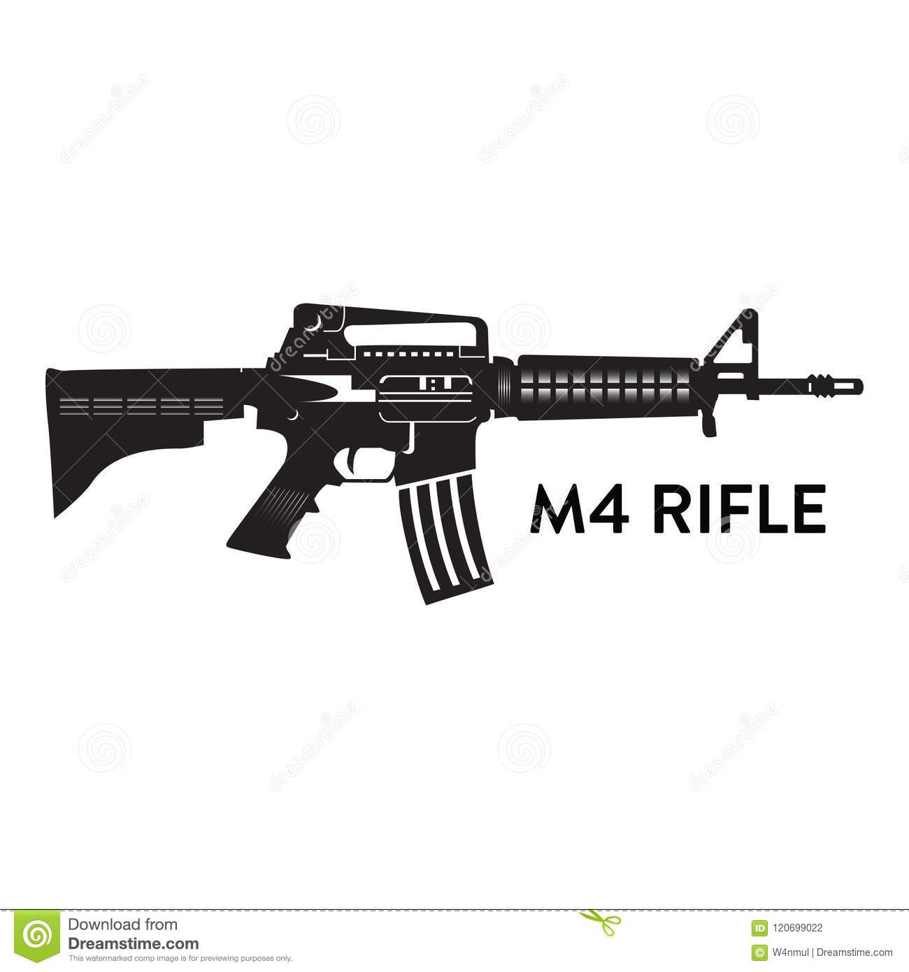 M4 rifle vector silhouette stock vector  Illustration of army