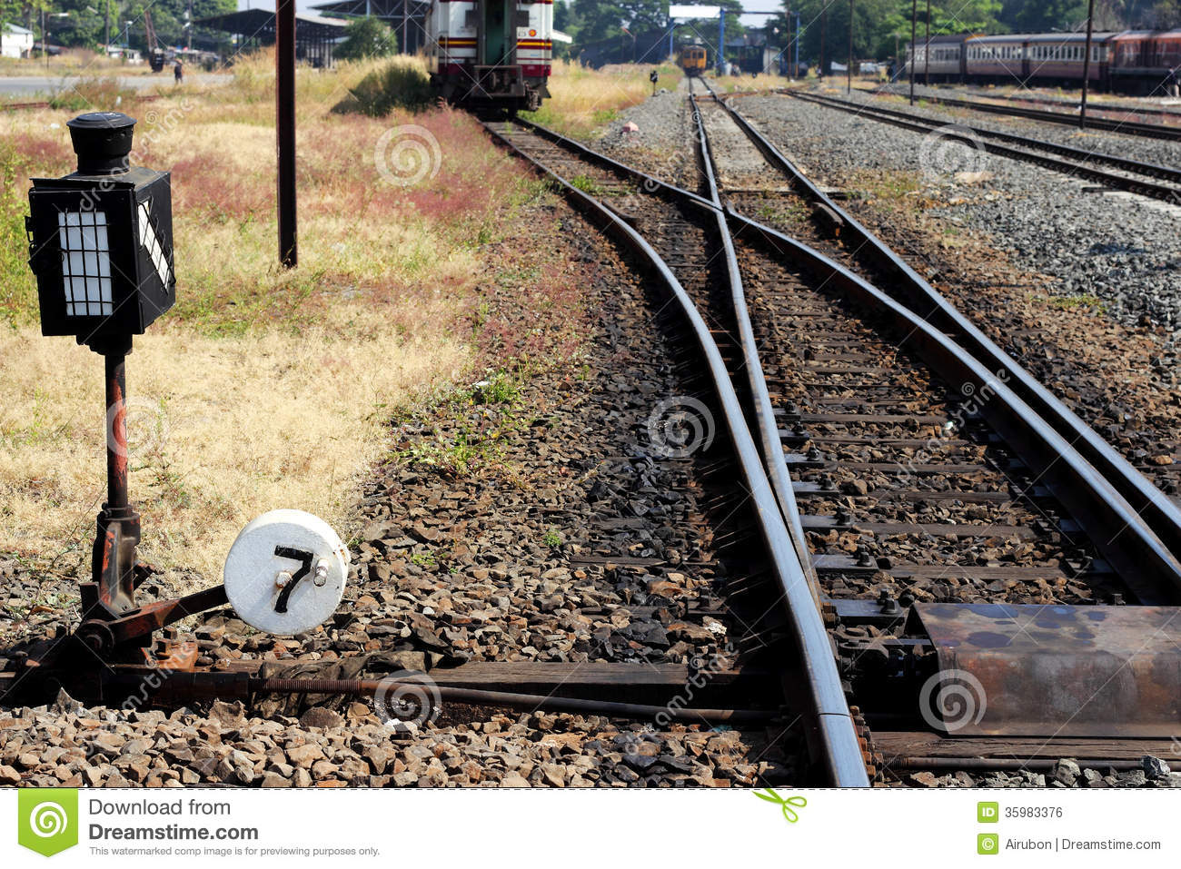 Change Lever For Trains : Manual railroad switch royalty free stock image