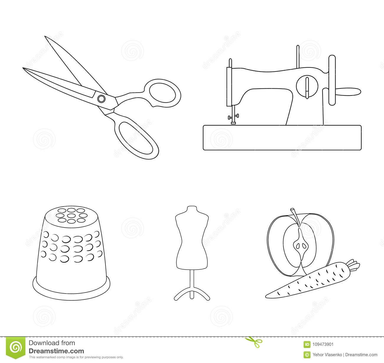 Manual sewing machine, scissors, maniken, thimble.Sewing or tailoring tools  set collection