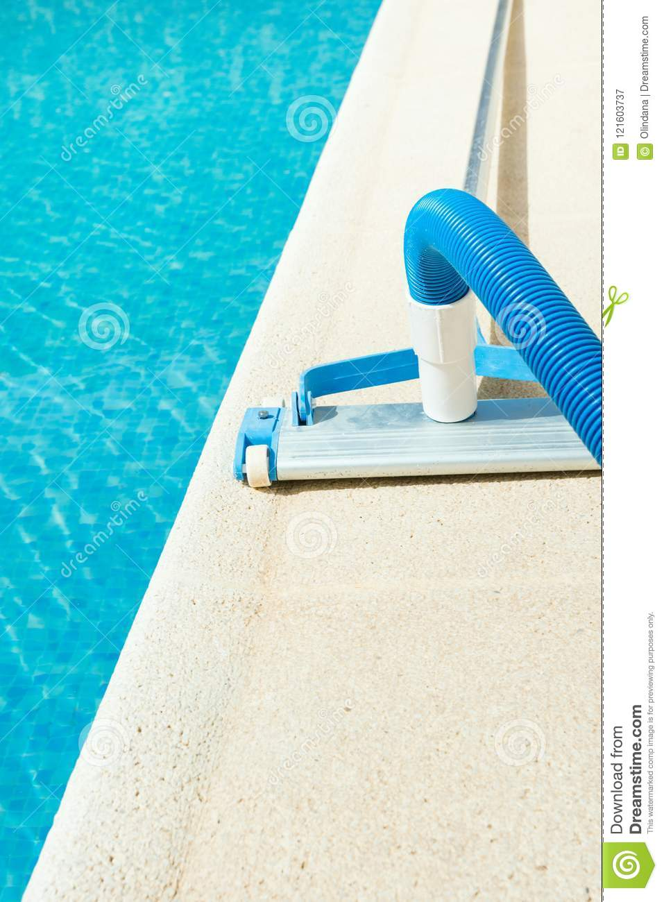 Manual Swimming Pool Vacuum Cleaner On Stone Deck. Bright Summer ...
