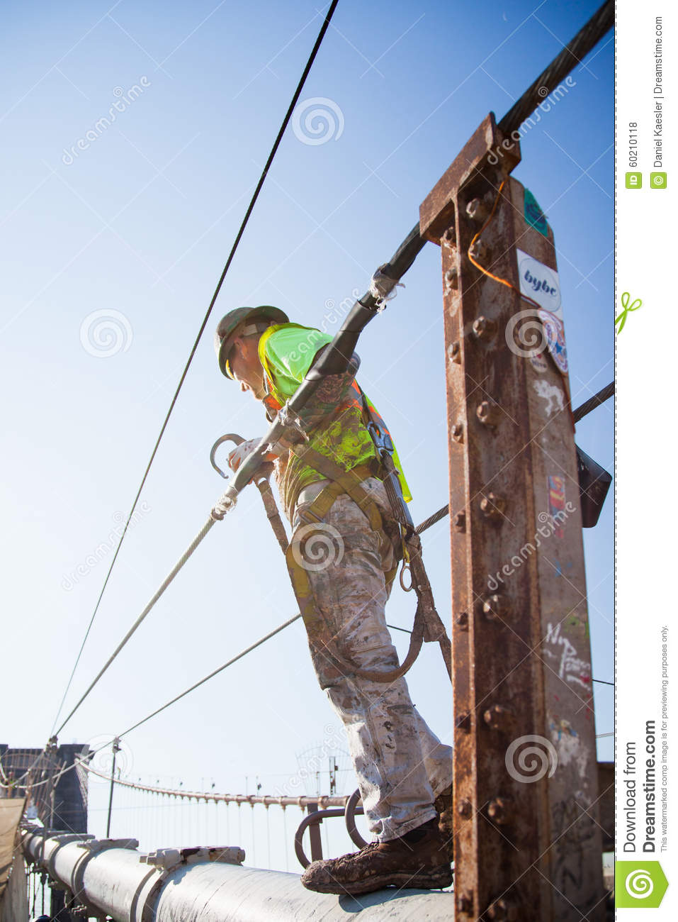 Manual Worker Climbing The Brooklyn Bridge Editorial Stock Photo