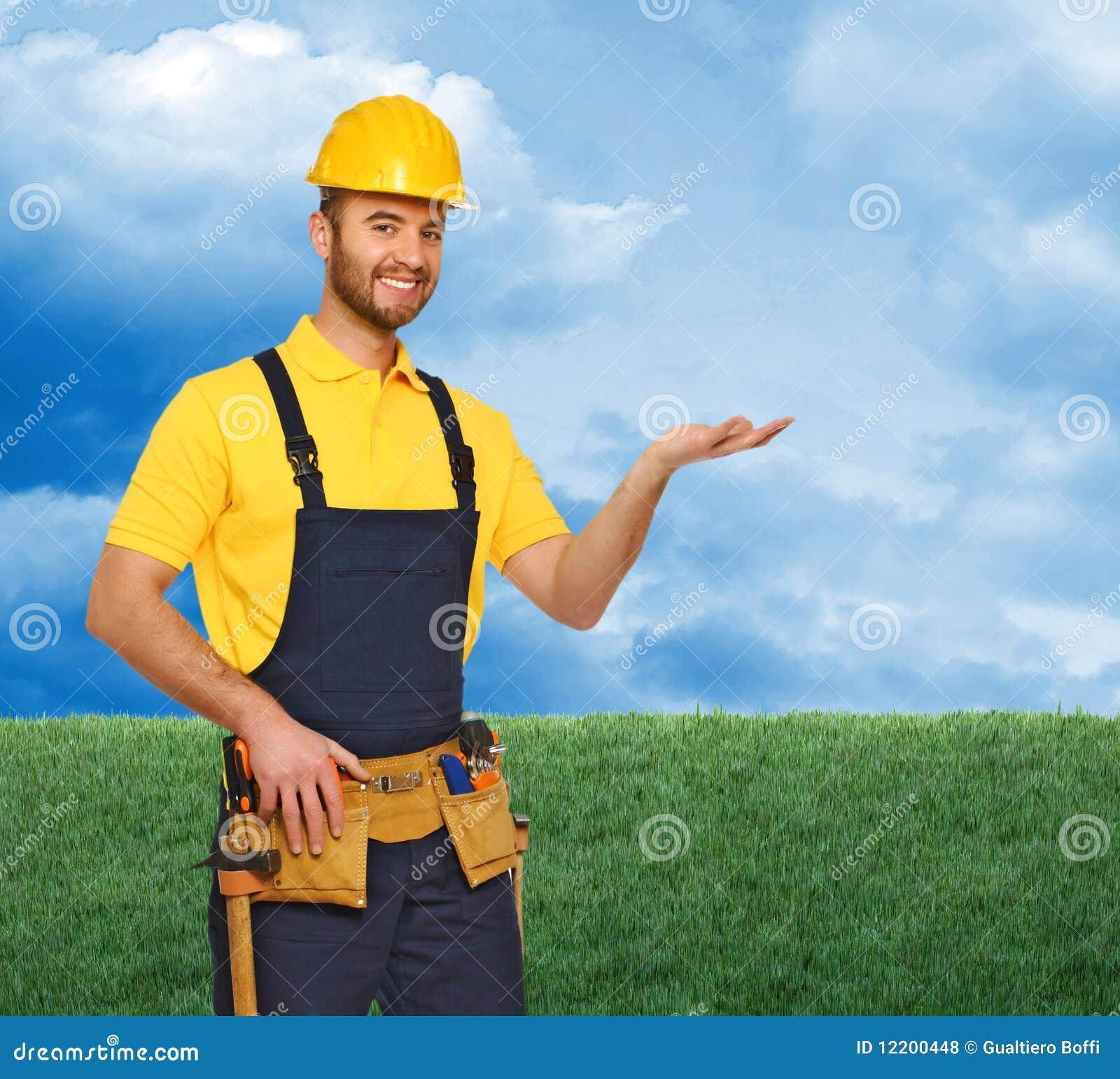 Manuelle Arbeitskraft und natürlicher Hintergrund