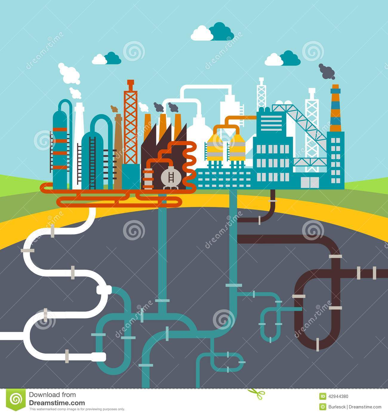 Manufacturing Factory Or Refinery Plant Stock Vector
