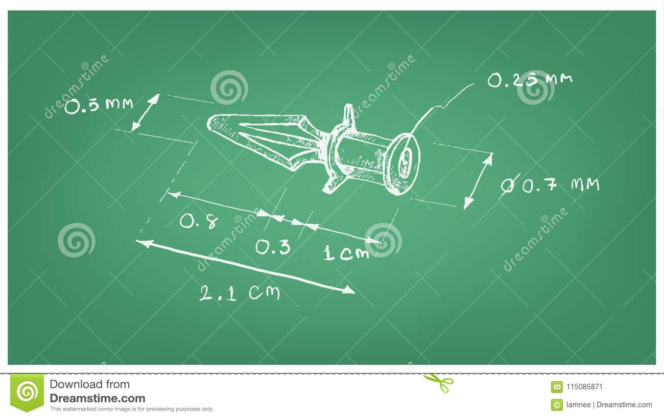 Dimension Of Plastic Anchor For Circuit Board Stock Vector