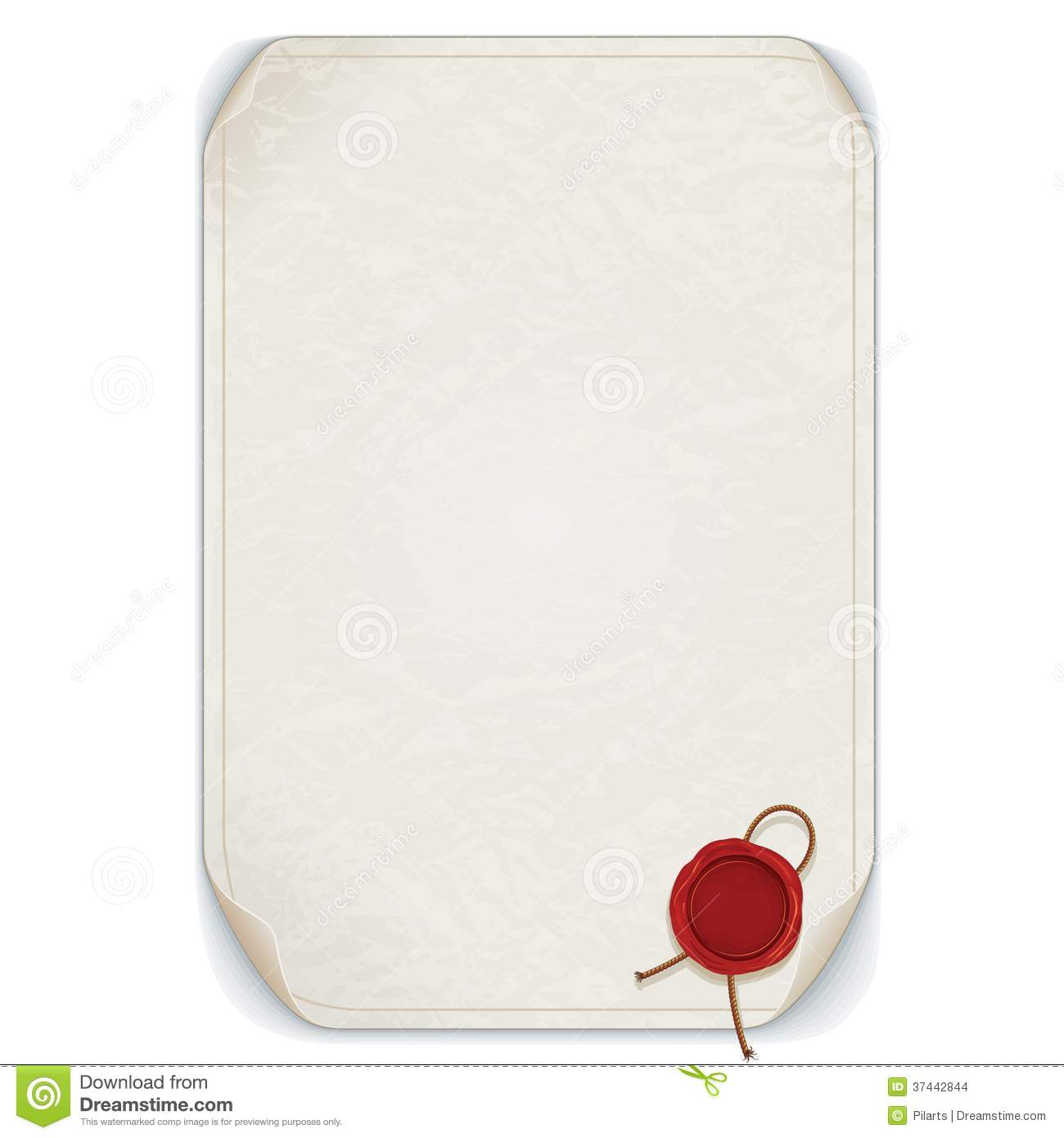 manuscript scroll with wax seal  vector isolated stock
