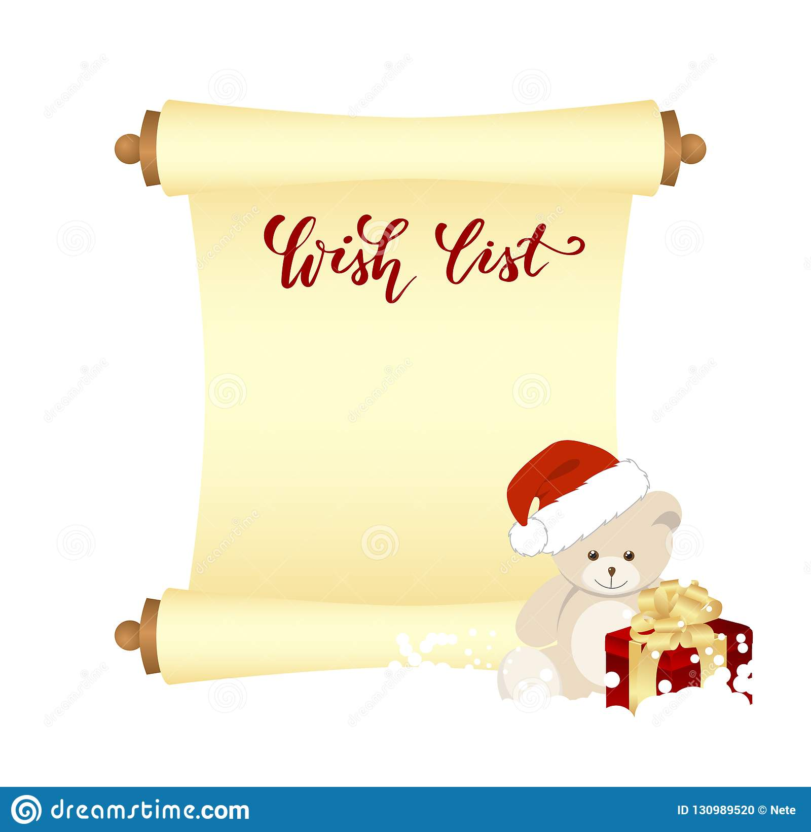 Manuscript Wish List Stock Vector Illustration Of Decoration