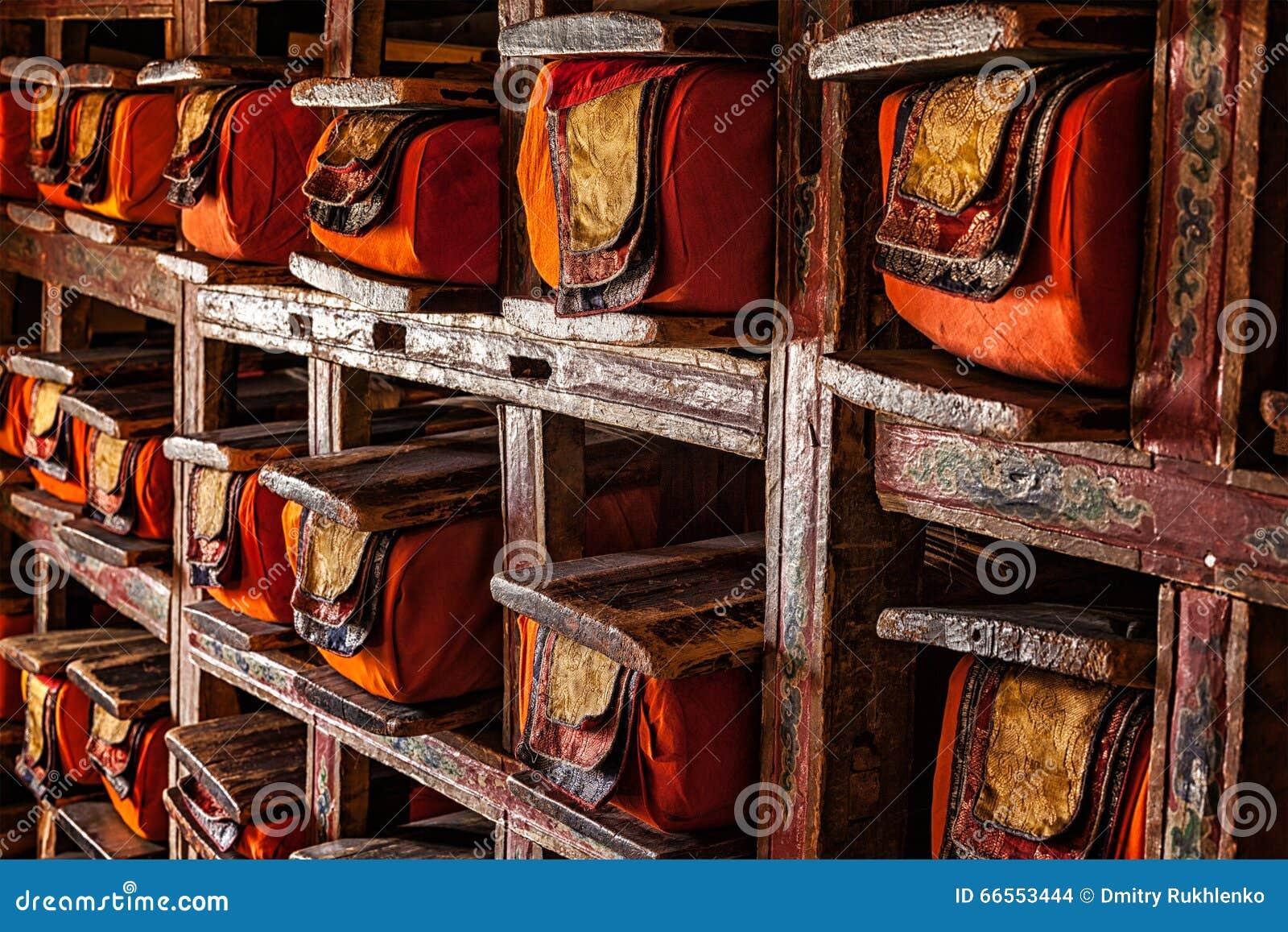Manuscriptenfolio s in Tibetaans Boeddhistisch klooster