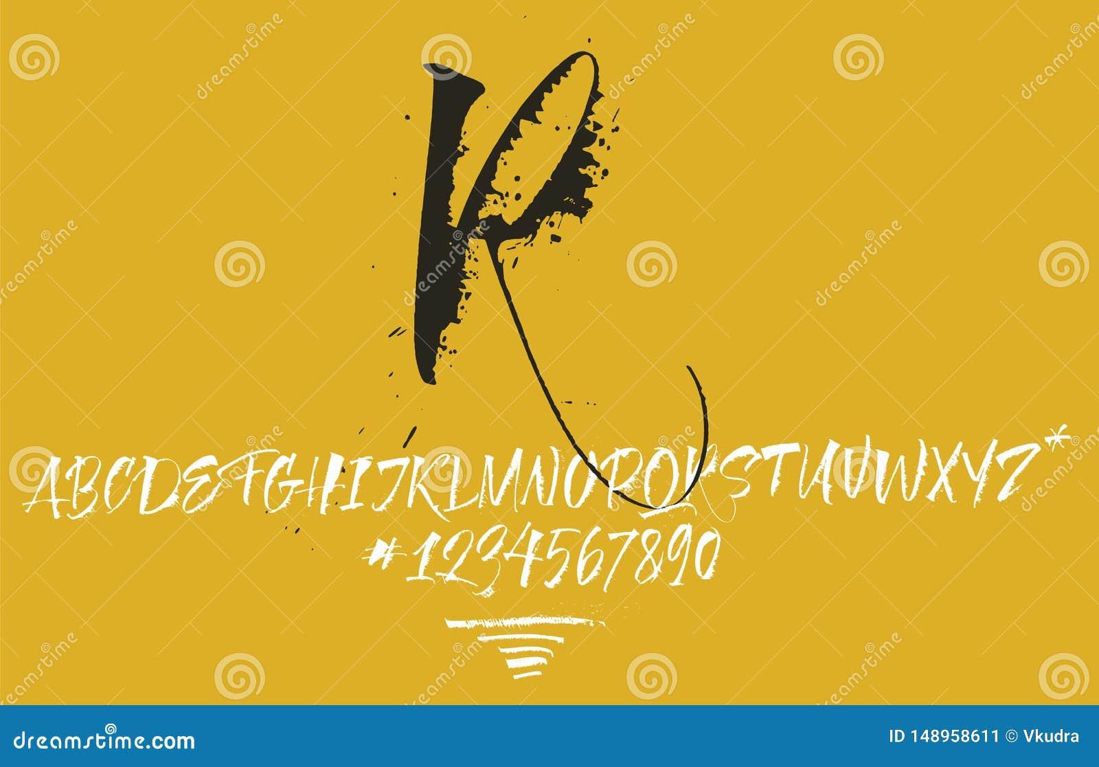Manuscrit calligraphique expressif Un bon nombre de taches et ?clabousse