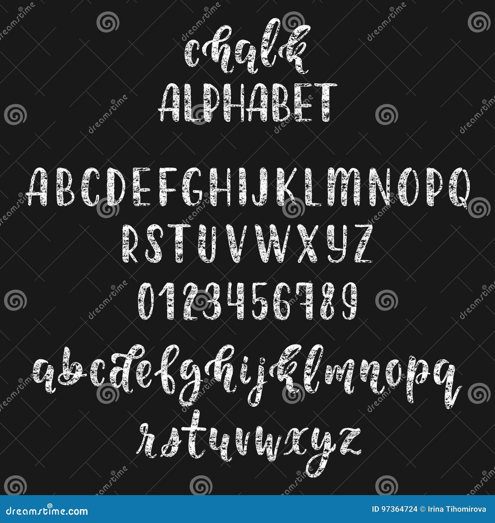 Manuscrit latin manuscrit de brosse de calligraphie de craie avec des nombres et des symboles Alphabet moderne de craie Vecteur