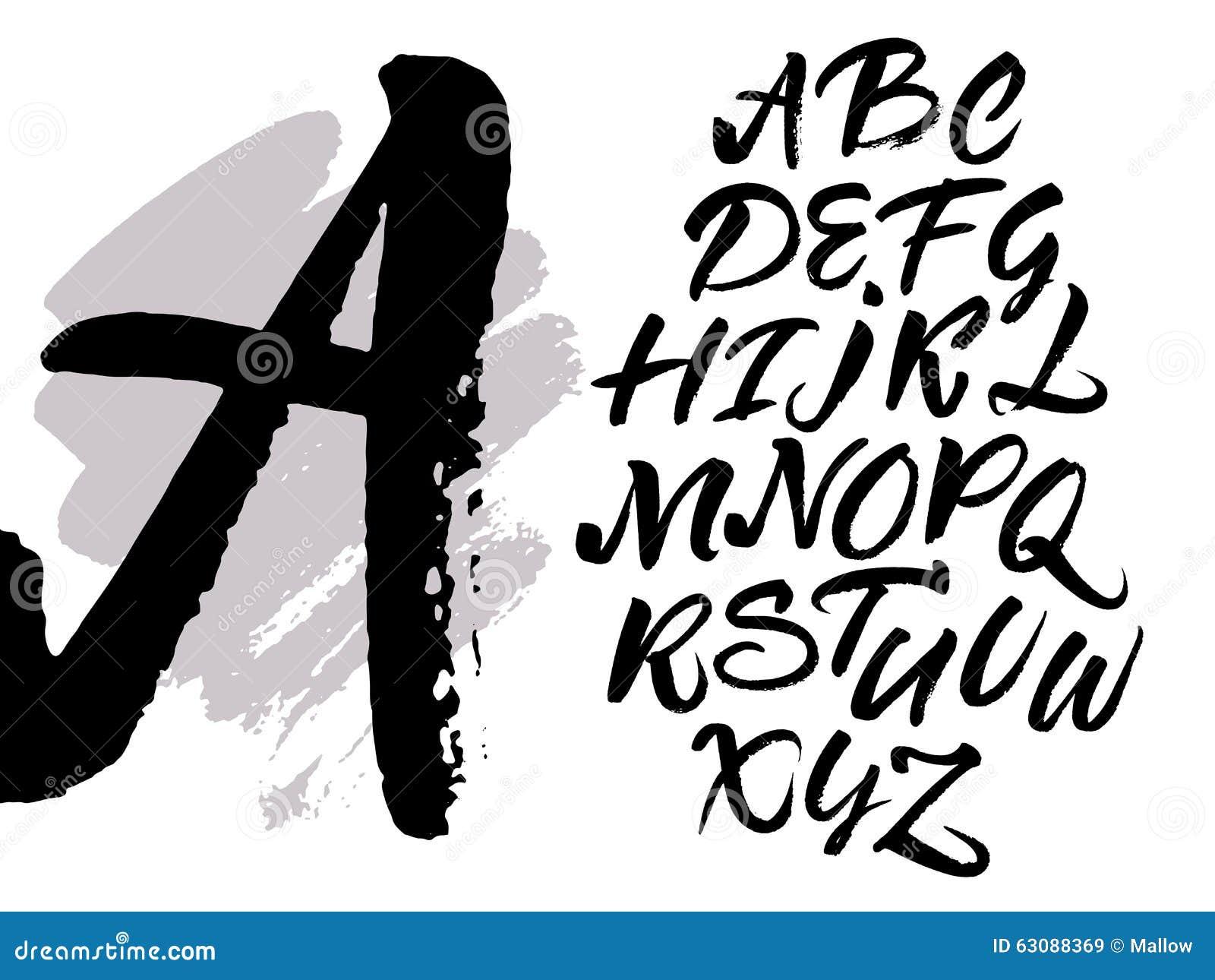 Download Manuscrit Manuscrit Calligraphique De Brosse Expressive Illustration de Vecteur - Illustration du majuscule, peinture: 63088369