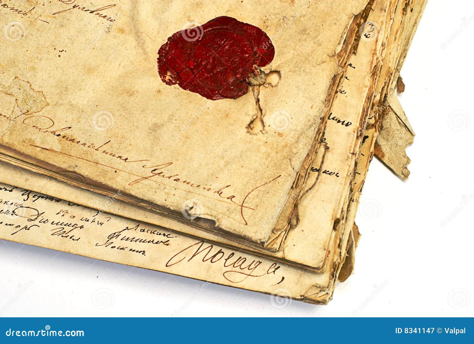 Manuscrito con el sello de la cera