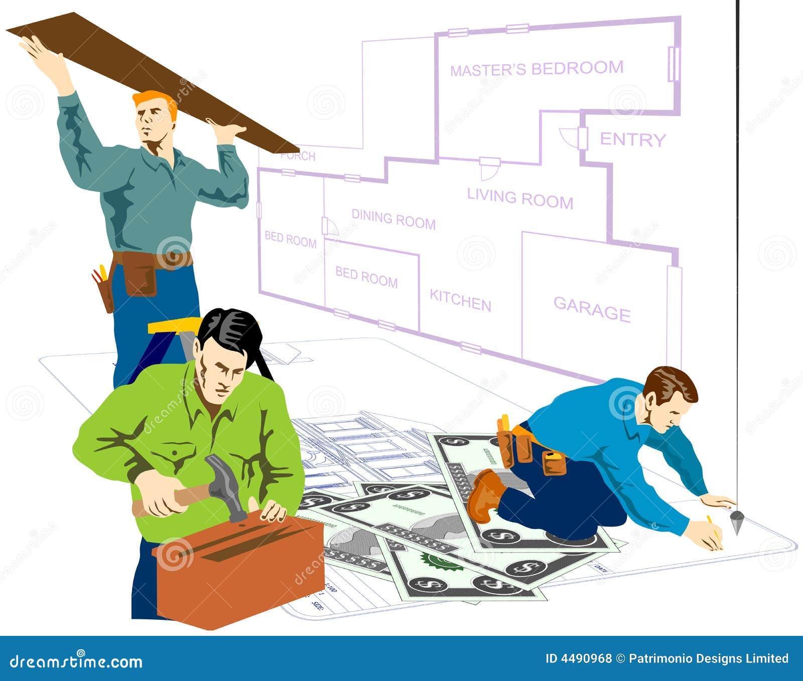 Manusjes van alles die huisreparatie doen vector illustratie afbeelding 4490968 - Huisverbetering m ...