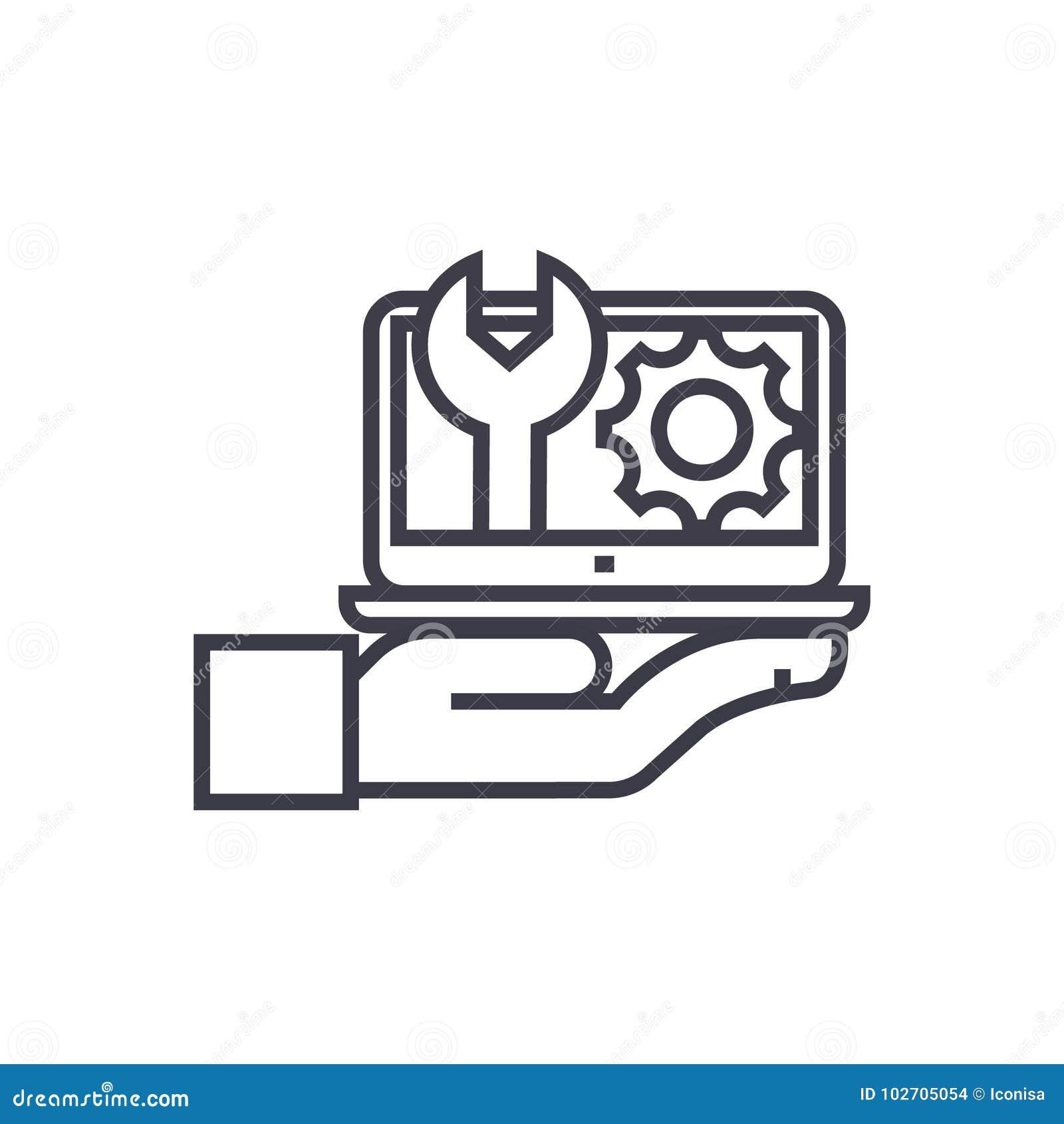 Manutenção, linha fina ícone do vetor do conceito do suporte informático, símbolo, sinal, ilustração no fundo isolado