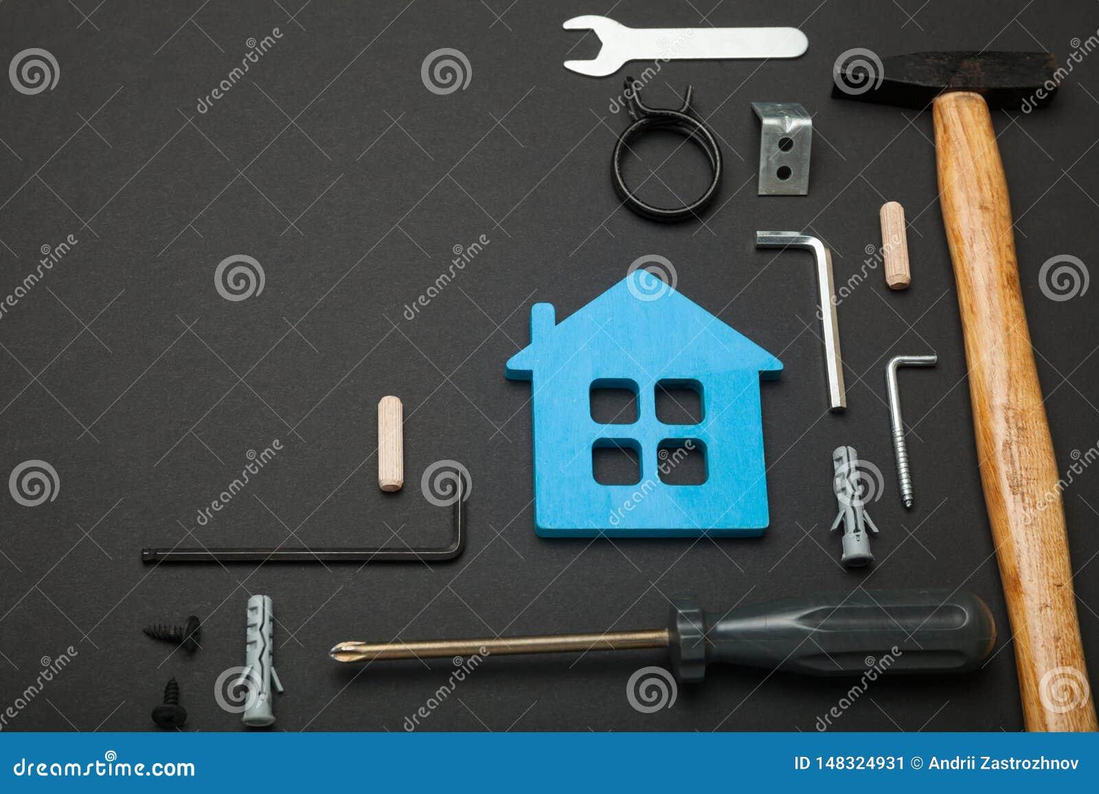 Manutenzione in casa, riparazione domestica Fondo di rinnovamento degli strumenti Copi lo spazio per testo