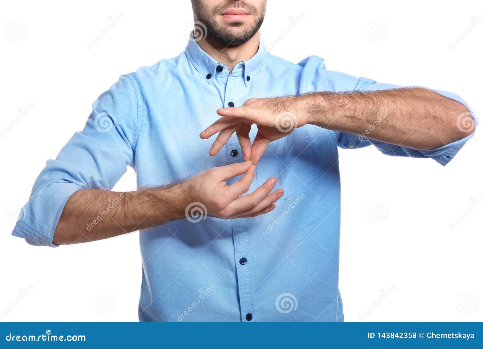 Manvisningord TOLKARE i teckenspråk på vit bakgrund