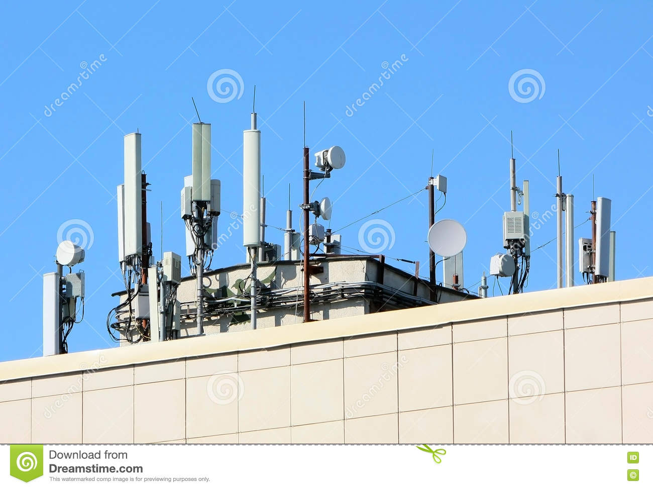 Wonderful Many Antennas On The Roof Of Business Center. Royalty Free Stock Photos