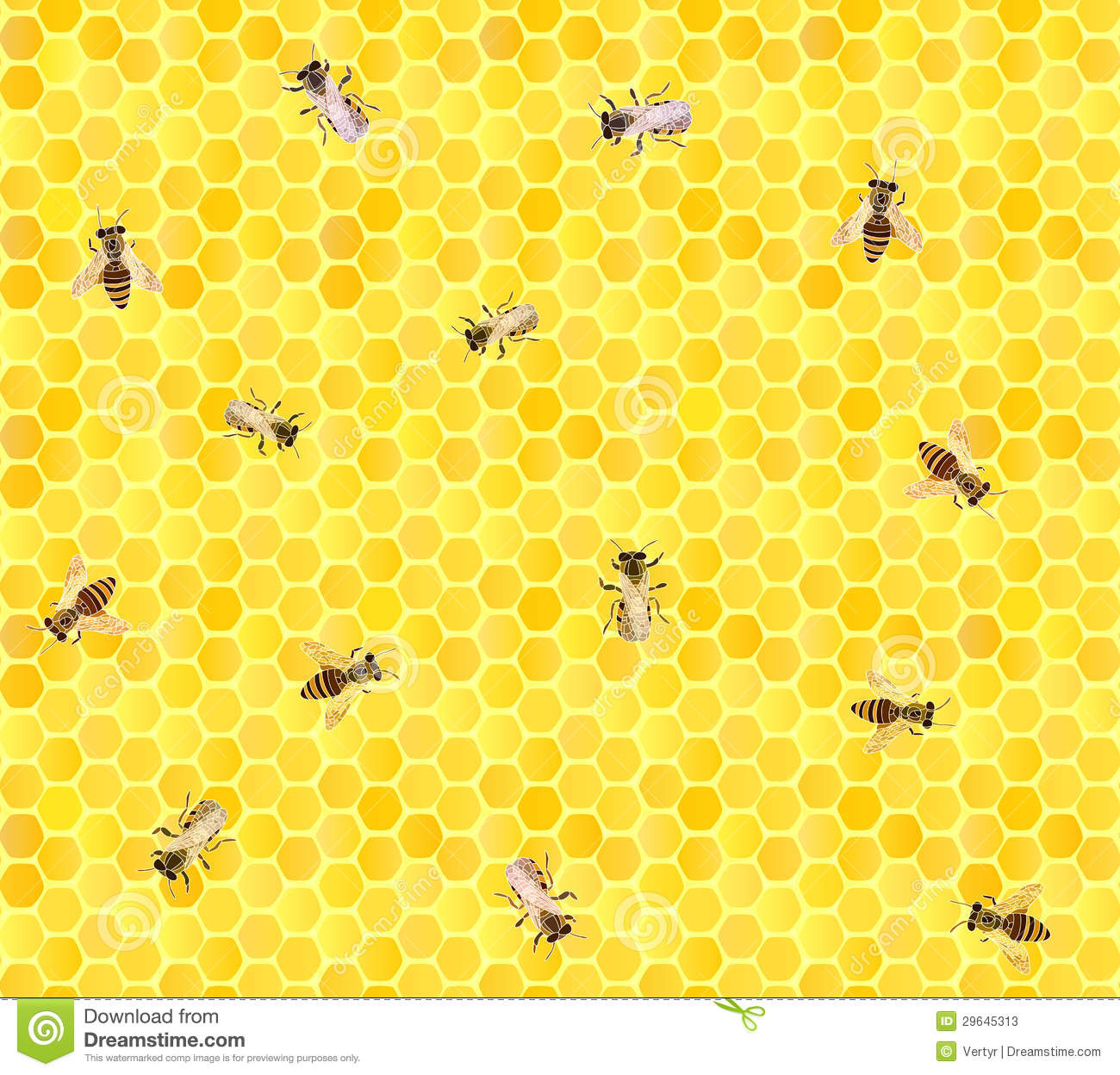 Many bees on honeycomb, seamless background.