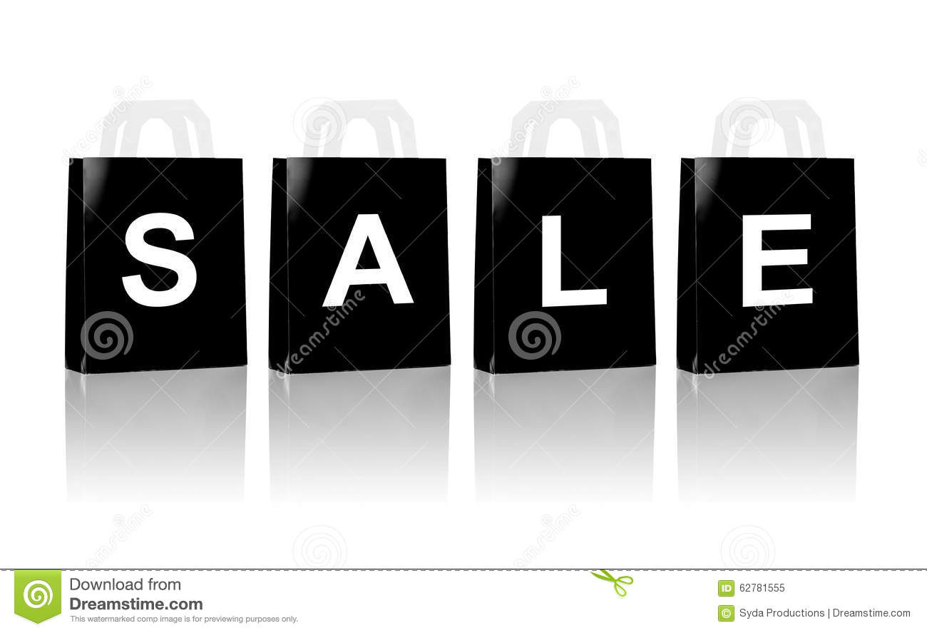 Many black shopping bags with sale word