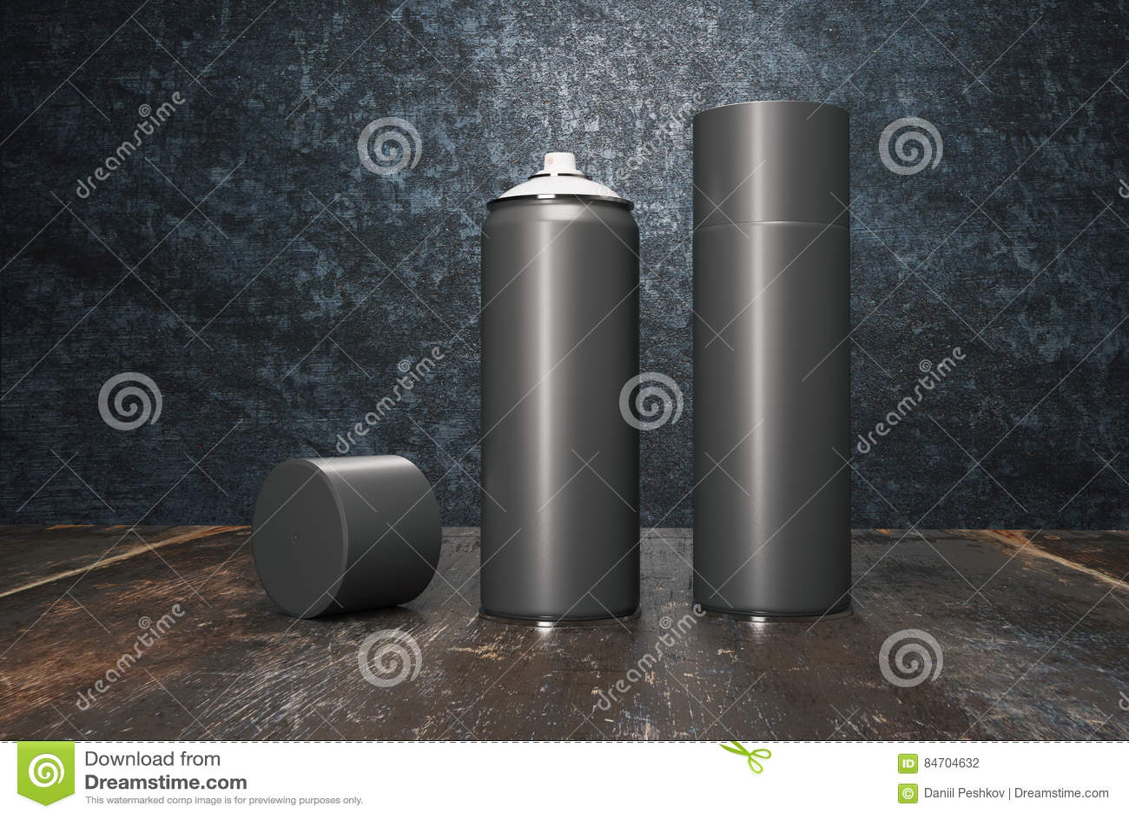 Many Black Spray Paint Bottle Stock Illustration
