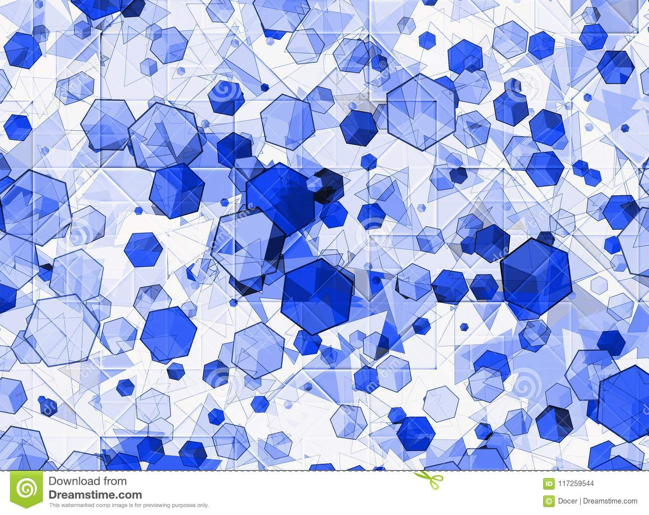 Many blue abstract geometric figures background